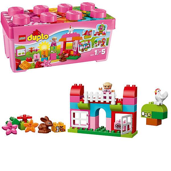 LEGO DUPLO 10571: Лучшие друзья: курочка и кроликКонструкторы для малышей<br>LEGO DUPLO (ЛЕГО Дупло) 10571: Лучшие друзья: курочка и кролик - увлекательный игровой набор, который станет замечательным подарком для Вашего малыша. <br><br>Из деталей набора Лучшие друзья: курочка и кролик 10571 можно собрать небольшую ферму, где поселятся симпатичная девочка, курочка и кролик. Для них можно построить самые разнообразные строения. Для строительства хозяйского дома и вольеров для животных прекрасно подойдут красные и розовые прямоугольные блоки с большими открывающимися окошками. Широкий выбор зелёных элементов поможет создать несколько деревьев и лужайку перед домом. Ферму можно перестроить и трансформировать в замок, домик на дереве или корабль.<br><br>В наборе есть специальные детали: арка, окна, кубики с цифрами, которые познакомят малыша с числами. Все детали сложены в прочную розовую коробку в форме классического кубика LEGO.<br><br>ЛЕГО Дупло - серия конструкторов для малышей, которую отличает крупные яркие детали со скругленными углами и многообразие игровых сюжетов, это и животные, и растения, и машинки, и сказочные персонажи.<br><br>Дополнительная информация:<br><br>- Количество деталей: 65.<br>- В наборе: декорированные кубики, курочка, кролик, девочка, арка.<br>- Количество минифигур: 3.<br>- Серия: ЛЕГО Дупло. <br>- Материал: пластик.<br>- Размер упаковки: 18 х 18 х 37 см. <br>- Вес: 1 кг. <br><br>Игра с конструктором развивает мелкую моторику, фантазию и воображение ребенка, учит его усидчивости и внимательности. <br><br>Конструктор LEGO DUPLO (ЛЕГО Дупло) 10571: Лучшие друзья: курочка и кролик можно купить в нашем интернет-магазине.<br>Ширина мм: 365; Глубина мм: 182; Высота мм: 180; Вес г: 1035; Возраст от месяцев: 18; Возраст до месяцев: 60; Пол: Женский; Возраст: Детский; SKU: 3342506;