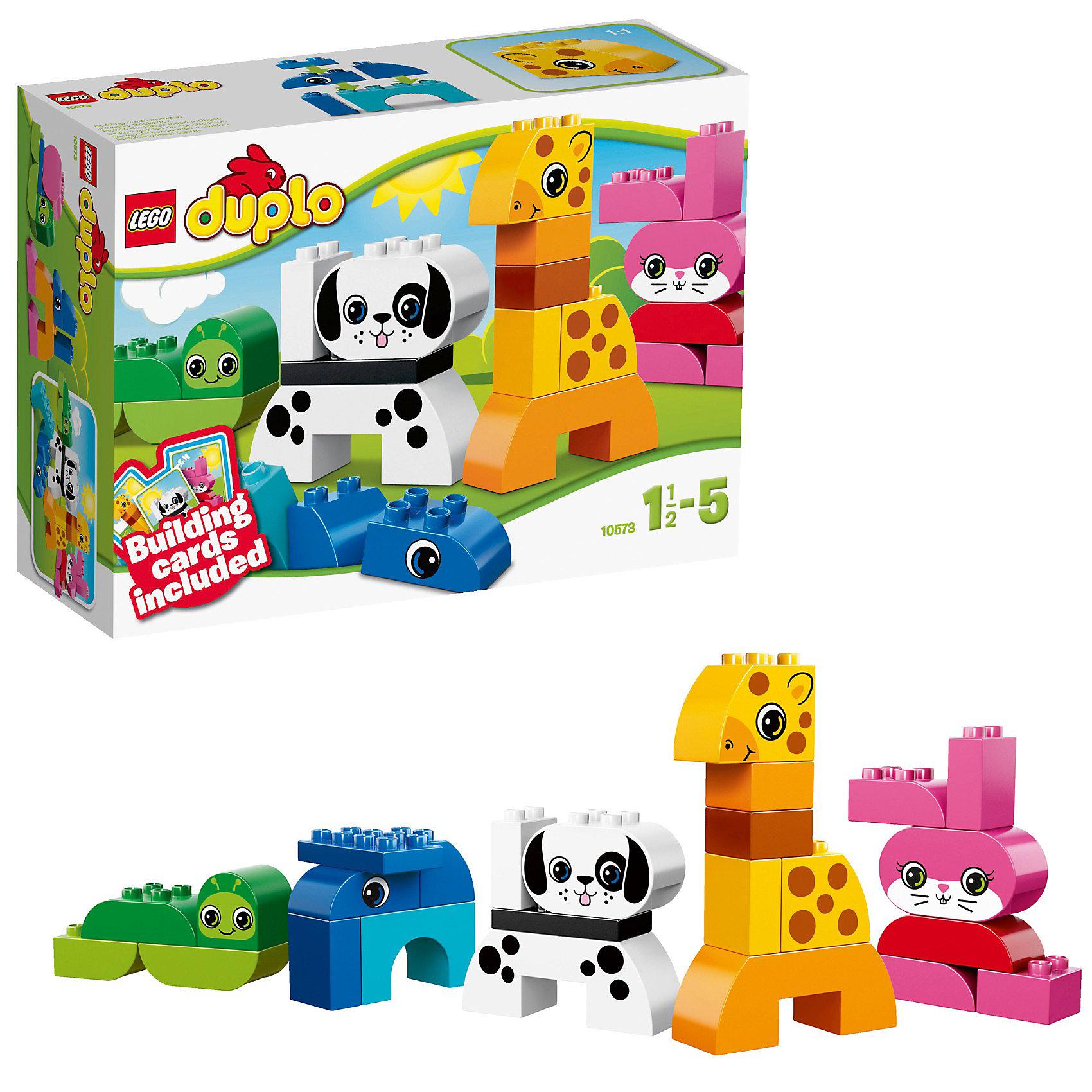 LEGO DUPLO 10573: Весёлые зверюшкиLEGO DUPLO (ЛЕГО Дупло) 10573: Весёлые зверюшки - увлекательный игровой набор, который станет замечательным подарком для Вашего малыша. <br><br>Набор Lego Duplo Весёлые зверюшки познакомит малыша с миром диких животных. Карточки-подсказки, включенные в набор, помогут без труда собрать жирафа, щенка, кролика, червячка и слоненка, каждое животное имеет свой собственный яркий цвет. Можно также самому собрать собственных придуманных зверей. В набор включены классические кирпичики Duplo и кирпичики с рисунками.<br><br>ЛЕГО Дупло - серия конструкторов для малышей, которую отличает крупные яркие детали со скругленными углами и многообразие игровых сюжетов, это и животные, и растения, и машинки, и сказочные персонажи.<br><br>Дополнительная информация:<br><br>- Количество деталей: 25.<br>- В наборе: детали конструктора.<br>- Количество минифигур: 0.<br>- Серия: ЛЕГО Дупло. <br>- Материал: пластик.<br>- Размер упаковки: 19,1 x 9,1 x 26,2 см.<br>- Вес: 0,525 кг. <br><br>Игра с конструктором развивает мелкую моторику, фантазию и воображение ребенка, учит его усидчивости и внимательности. <br><br>Конструктор LEGO DUPLO (ЛЕГО Дупло) 10573: Весёлые зверюшки можно купить в нашем интернет-магазине.<br><br>Ширина мм: 263<br>Глубина мм: 189<br>Высота мм: 92<br>Вес г: 423<br>Возраст от месяцев: 18<br>Возраст до месяцев: 60<br>Пол: Унисекс<br>Возраст: Детский<br>SKU: 3342511