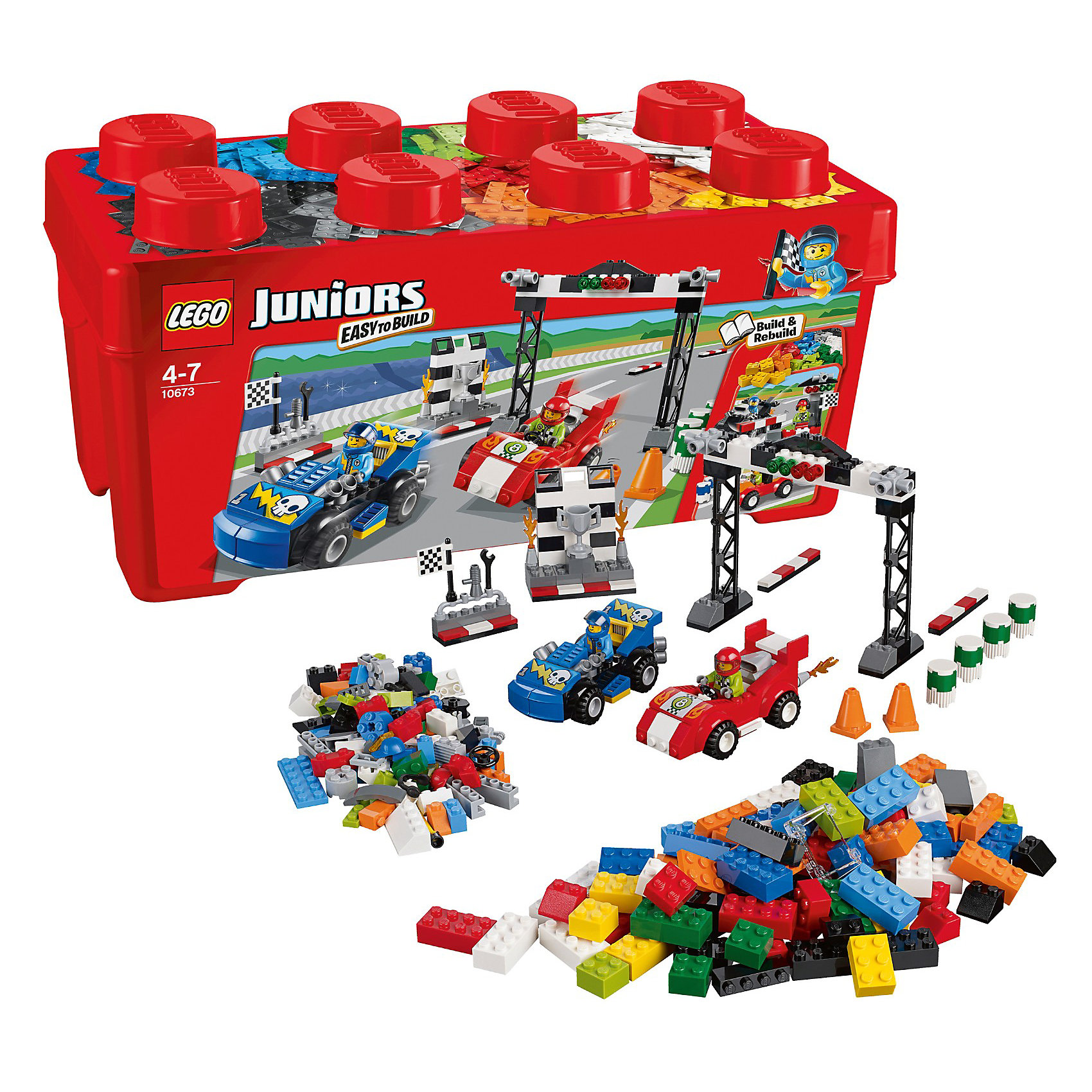 LEGO Juniors 10673: Ралли на гоночных автомобиляхКонструктор LEGO Juniors (ЛЕГО Джуниорс) 10673: Ралли на гоночных автомобилях - мечта мальчишек, обожающих скорость. Масштабный набор позволит создать настоящую трассу с крутыми поворотами и захватывающими виражами. В гонках участвуют два опытных пилота на суперскоростных машинах! Построй стартовую арку со светофором и динамиками, откуда спортсмены начнут гонку. Для дозаправки и ремонта есть мобильный пит-стоп с инструментами и оборудованием. А победителя будут чествовать на красивом пьедестале, где он получит заветный кубок под гром аплодисментов! Подключайте фантазию и Вам никогда не будет скучно в компании LEGO (ЛЕГО)!<br><br>Серия конструкторов LEGO Juniors (ЛЕГО Джуниорс) - специально разработаны для детей от 4 до 7 лет. Размер кубиков и деталей соответствует обычным размерам. При этом наборы очень просты в сборке. Понятные инструкции позволяют детям быстро получить результат и приступить к игре. Конструкторы этой серии прекрасно детализированы, яркие, прочные, имеют множество различных сюжетов - идеально подходят для реалистичных и познавательных игр.<br><br>Дополнительная информация:<br><br>- Игра с конструктором  LEGO (ЛЕГО) развивает мелкую моторику ребенка, фантазию и воображение, учит его усидчивости и внимательности;<br>- В комплекте: 2 минифигурки гонщиков, детали набора; <br>- Количество деталей: 350 шт;<br>- Удобно хранить и брать с собой;<br>- Серия: LEGO Juniors (ЛЕГО Джуниорс);<br>- Материал: пластик;<br>- Размер упаковки: 37 х 18 х 18 см;<br>- Вес: 1,2 кг <br><br>Конструктор LEGO Juniors (ЛЕГО Джуниорс) 10673: Ралли на гоночных автомобилях можно купить в нашем интернет-магазине.<br><br>Ширина мм: 364<br>Глубина мм: 184<br>Высота мм: 180<br>Вес г: 997<br>Возраст от месяцев: 48<br>Возраст до месяцев: 84<br>Пол: Мужской<br>Возраст: Детский<br>SKU: 3342512