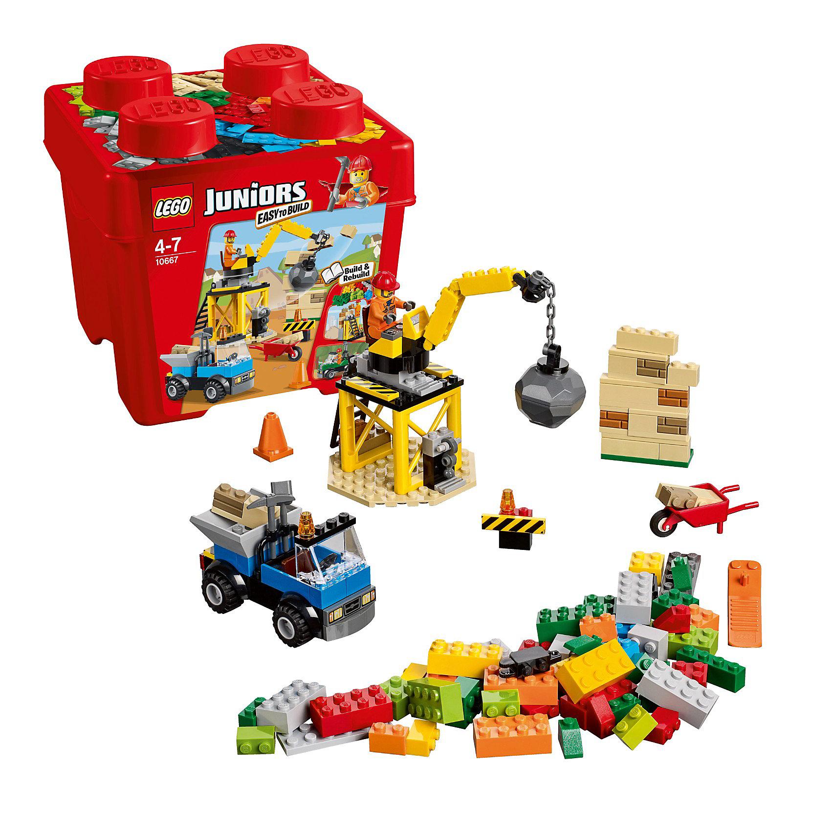 LEGO Juniors 10667: СтройкаЗамечательный набор LEGO Juniors (ЛЕГО Джуниорс) 10667: Стройка позволяет создать множество интересных объектов. Для того, чтобы демонтировать старые объекты и построить на их месте новые дома необходимо собрать подвижный кран с большим грузом на вышке. Рабочий легко заберется на кран с помощью приставной лестницы и выполнит задачу. Без специальных машин на стройке не обойтись: используйте фантазию и собирайте грузовики разного назначения. На них рабочий легко доставит инструменты и уберет ненужный строительный мусор. Инструменты доставлены - можно строить новый кирпичный дом. <br><br>LEGO Juniors (ЛЕГО Джуниорс) - серия конструкторов для детей от 4 до 7 лет. Размер кубиков и деталей соответствует обычным размерам. При этом наборы очень просты в сборке. Понятные инструкции позволяют детям быстро получить результат и приступить к игре. Конструкторы этой серии прекрасно детализированы, яркие, прочные, имеют множество различных сюжетов - идеально подходят для реалистичных и познавательных игр.<br><br>Дополнительная информация:<br><br>- Конструкторы ЛЕГО развивают усидчивость, внимание, фантазию и мелкую моторику; <br>- В комплекте минифигурка рабочего и множество разноцветных блоков, заградительные блоки с сигнальными огнями, колёса, ветровые стекла и фары, рычаги управления, лестницу, тележку, лопату, кирку и сепаратор для разделения деталей;<br>- Количество деталей: 160 шт;<br>- Серия ЛЕГО Джуниорс (LEGO Juniors);<br>- Материал: пластик;<br>- Размер упаковки: 18,9 х 17,9 х 18 см;<br>- Вес: 0,7 кг.<br><br>Конструктор LEGO Juniors (ЛЕГО Джуниорс) 10667: Стройка можно купить в нашем магазине.<br><br>Ширина мм: 188<br>Глубина мм: 182<br>Высота мм: 180<br>Вес г: 539<br>Возраст от месяцев: 48<br>Возраст до месяцев: 84<br>Пол: Мужской<br>Возраст: Детский<br>SKU: 3342516
