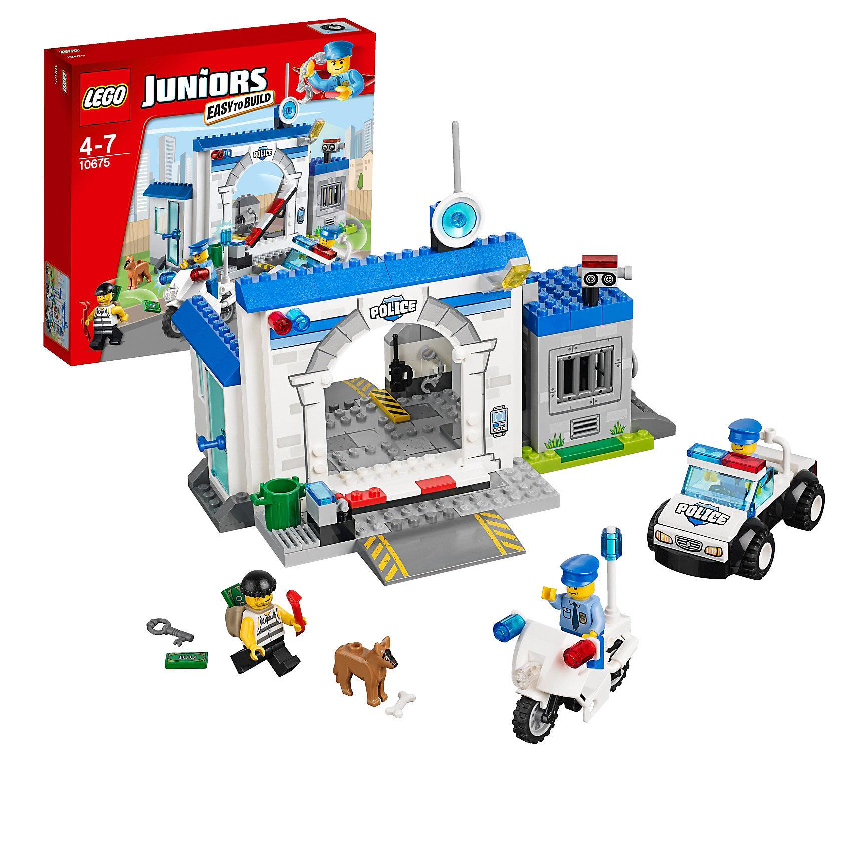 LEGO Juniors 10675: Полиция — большой побегКонструктор LEGO Juniors (ЛЕГО Джуниорс) 10675: Полиция — большой побег - мечта мальчишек, обожающих полицейские погони. Масштабный набор позволит воссоздать атмосферу полицейского участка, где служат доблестные стражи порядка. На крыше бело-синего здания полиции спутниковая антенна и камера слежения. Чтобы попасть на территорию участка необходимо предъявить пропуск, затем поднимается шлагбаум и можно поставить машину на парковке. Если преступник задержан, его сажают в камеру, которая находится на территории участка. Но коварный преступник бежал, прихватив с собой мешки с деньгами. В погоню за ним отправляются лучшие сотрудники, в том числе полицейский пес. Он выслеживает преступника, а полицейские догоняют и задерживают вора. Замечательный набор Полиция - большой побег, поможет малышу создать множество увлекательных сюжетов! Подключайте фантазию и Вам никогда не будет скучно в компании LEGO (ЛЕГО)!<br><br>Серия конструкторов LEGO Juniors (ЛЕГО Джуниорс) - специально разработаны для детей от 4 до 7 лет. Размер кубиков и деталей соответствует обычным размерам. При этом наборы очень просты в сборке. Понятные инструкции позволяют детям быстро получить результат и приступить к игре. Конструкторы этой серии прекрасно детализированы, яркие, прочные, имеют множество различных сюжетов - идеально подходят для реалистичных и познавательных игр.<br><br>Дополнительная информация:<br><br>- Игра с конструктором  LEGO (ЛЕГО) развивает мелкую моторику ребенка, фантазию и воображение, учит его усидчивости и внимательности;<br>- В комплекте: 3 минифигурки: 2 полицейских и преступник, детали набора; <br>- Количество деталей: 146 шт;<br>- Удобно хранить и брать с собой;<br>- Серия: LEGO Juniors (ЛЕГО Джуниорс);<br>- Материал: пластик;<br>- Размер упаковки: 28 х 26 х 6 см;<br>- Вес: 0,6  кг <br><br>Конструктор LEGO Juniors (ЛЕГО Джуниорс) 10675: Полиция — большой побег можно купить в нашем интернет-магазине.<br><br>Ширина мм: 287<br>Глубина мм: