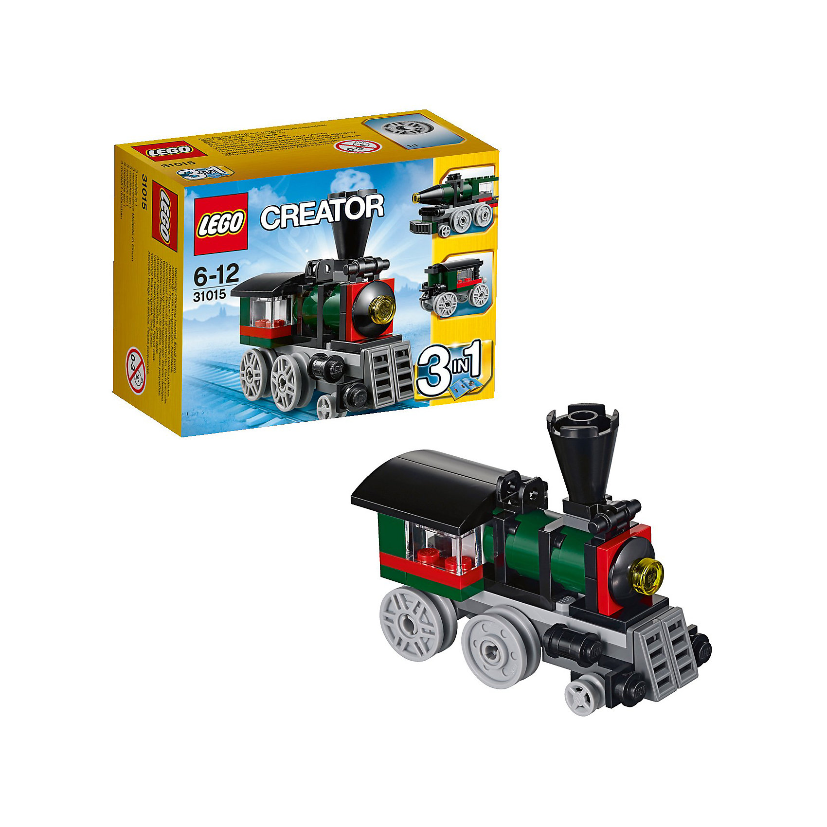 LEGO Creator 31015: Изумрудный экспрессС помощью набора LEGO Creator (ЛЕГО Криэйтор) 31015: Изумрудный экспресс юные поклонники конструктора Лего смогут собрать уменьшенную копию легендарного паровоза «Изумрудная ночь». Локомотив выполнен из черно-зеленых деталей с добавлением красных акцентов. Классический старинный паровоз оснащен выхлопной трубой, противотуманной фарой в центре парового котла и покатой крышей. Корпус базируется на серой платформе с креплениями для четырёх больших и двух малых колёс. Кабина машиниста также выглядит очень реалистично.<br>При желании паровоз можно переделать в скоростной локомотив-ракету или в вагончик.<br><br>Серия  LEGO Creator создана специально для развития творческих способностей ребенка, из каждой модели конструктора можно собрать три различных варианта игрушки или придумать свою собственную, что позволит ребенку развить фантазию и пространственное воображение.<br><br>Дополнительная информация:<br><br>- Количество деталей: 56.<br>- Серия: ЛЕГО Криэйтор.<br>- Материал: пластик.<br>- Размеры паровоза: 8 х 7 х 3 см.<br>- Размеры локомотива-ракеты: 9 х 4 х 3 см.<br>- Размеры вагона: 6 х 3 х 2 см.<br>- Размер упаковки: 12,2 х 9,1 х 5,8 см. <br>- Вес: 80 гр. <br><br>Игра с конструктором развивает мелкую моторику, фантазию и воображение ребенка, учит его усидчивости и внимательности.<br><br>LEGO Creator (ЛЕГО Криэйтор) 31015: Изумрудный экспресс можно купить в нашем интернет-магазине.<br><br>Ширина мм: 126<br>Глубина мм: 93<br>Высота мм: 60<br>Вес г: 77<br>Возраст от месяцев: 72<br>Возраст до месяцев: 144<br>Пол: Мужской<br>Возраст: Детский<br>SKU: 3342525