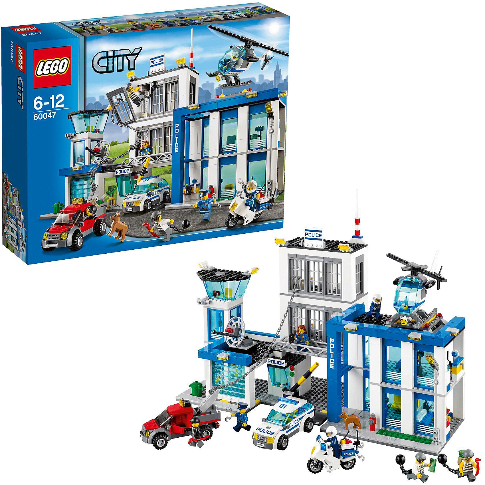 LEGO City 60047: Полицейский участокLEGO City (ЛЕГО Сити) 60047: Полицейский участок<br>В  необычном городе LEGO City непременно найдется место и строгим полицейским, и доброжелательным местным жителям, и заботливым работникам скорой помощи, а также всевозможным животным и красивым цветам и растениям. А по улицам волшебного ЛЕГО Сити пронесутся различные автомобили – крохотные и огромные, фантастичные и реалистичные.<br><br>Надо срочно включить сигнал тревоги в полицейском участке! Воришка на машине пытается организовать побег! Он цепью вырвал решётку тюрьме и помогает своему подельнику бежать. Надо обязательно остановить побег, смотри, этот заключённый пытается бежать через люк в крыше, а третий вырыл тайный ход для побега через туалеты! Нельзя терять время! Садись в полицейский вертолёт и выследи беглецов с воздуха, после обнаружения преследуй их на полицейской машине или мотоцикле. Быстрее, пока они не скрылись!<br>В набор входят 7 минифигурок с разнообразными аксессуарами: 3 полицейских, женщина-полицейский и 3 преступника.<br><br>Дополнительная информация:<br><br>- Количество деталей: 854 шт.<br>- 7 минифигурок в комплекте, а также фигурка собаки.<br>- Серия: ЛЕГО Сити<br>- Подсерия: Полиция<br>- Материал: пластик<br>- Размер упаковки: 0.378 х 0.112 х 0.48 м<br>- Вес: 2.268 кг<br>- Размеры Полицейского участка: 32 х 45 х 16 см<br>- Размеры полицейской машины: 5 х 5 х 11 см<br>- Размеры полицейского мотоцикла: 7 х 4 х 6 см<br>- Размеры полицейского вертолета: 8 х 5 х 20 см<br><br>Конструктор LEGO City (ЛЕГО Сити) 60047: Полицейский участок можно купить в нашем интернет-магазине.<br><br>Ширина мм: 480<br>Глубина мм: 375<br>Высота мм: 119<br>Вес г: 2102<br>Возраст от месяцев: 72<br>Возраст до месяцев: 144<br>Пол: Мужской<br>Возраст: Детский<br>SKU: 3342549