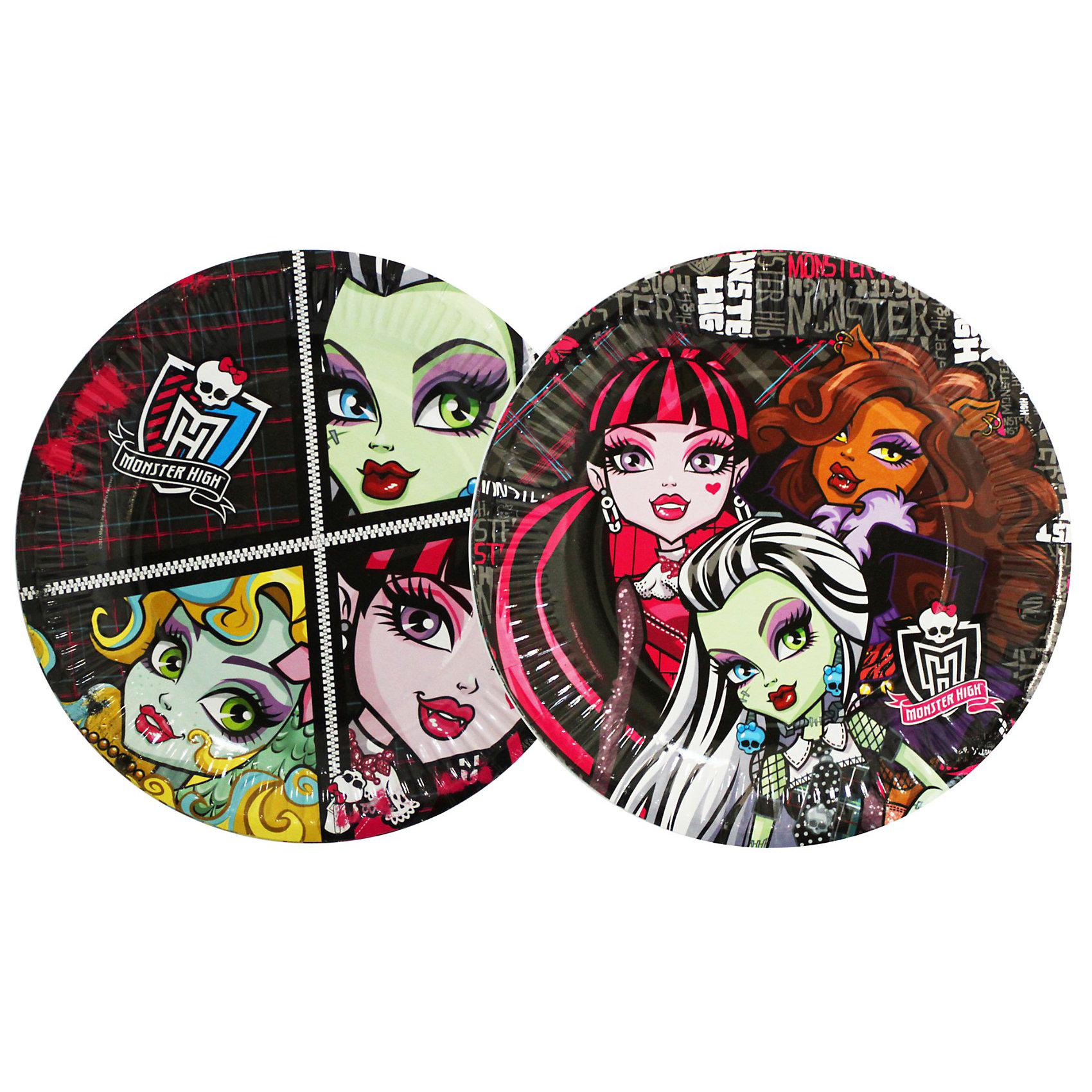 Тарелка бумажная, Monster High, 10шт., 23см, в ассорт.
