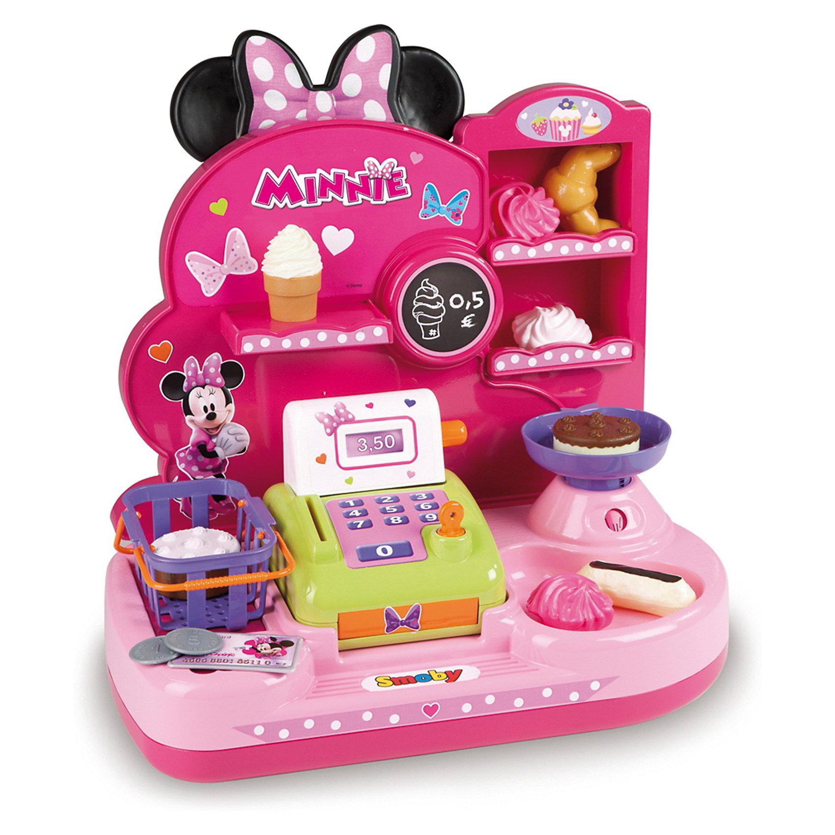 Мини-магазин, Smoby, Minnie MouseХарактеристики:<br><br>• аксессуары, 16 шт.;<br>• материал: пластик;<br>• размер кассы: 36,5х22х42 см;<br>• размер упаковки: 40х39х15 см.<br><br>Игрушечная касса – незаменимая вещь в магазине. Магазин сладостей Minnie Mouse предлагает своим покупателям пирожные, кексы, рогалики, булочки и зефир. Имеются специальные весы. Весь товар аккуратно разложен по полочкам, все, что понравится сладкоежкам, можно складывать в корзинку с ручками. Оплатить покупки можно игрушечными купюрами и монетами. Набор оформлен в стиле мышки Минни.<br><br>Мини-магазин, Smoby, Winx Club можно купить в нашем магазине.<br><br>Ширина мм: 360<br>Глубина мм: 220<br>Высота мм: 420<br>Вес г: 1000<br>Возраст от месяцев: 36<br>Возраст до месяцев: 72<br>Пол: Женский<br>Возраст: Детский<br>SKU: 3344669