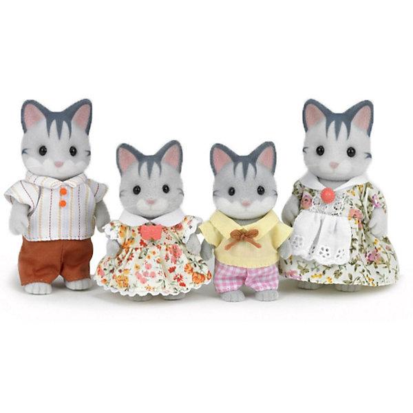 Набор Семья Серых кошек, Sylvanian FamiliesSylvanian Families<br>Набор Семья Серых кошек, Sylvanian Families - игровой набор, который наверняка порадует Вашего ребенка.<br><br>Эти милые и симпатичные кошечки станут отличным дополнением дружной семейки Сильваниан. У них розовые носики, блестящие глазки, вращается голова, ручки и ножки. <br>Все члены семьи одеты в нарядную одежду, которая крепится с помощью липучек. Одежда легко снимается и может стираться.<br><br>Дополнительная информация:<br><br>- Размеры товара: 2 фигурки 6см и 2 фигурки 8см<br>- Материалы: высококачественная пластмасса, текстиль, ПВХ с полимерным напылением.<br>- Размеры коробки: 20х6х17 см<br><br>  Набор Семья Серых кошек, Sylvanian Families можно купить в нашем интернет магазине.<br><br>Ширина мм: 209<br>Глубина мм: 172<br>Высота мм: 58<br>Вес г: 138<br>Возраст от месяцев: 36<br>Возраст до месяцев: 72<br>Пол: Женский<br>Возраст: Детский<br>SKU: 3345290