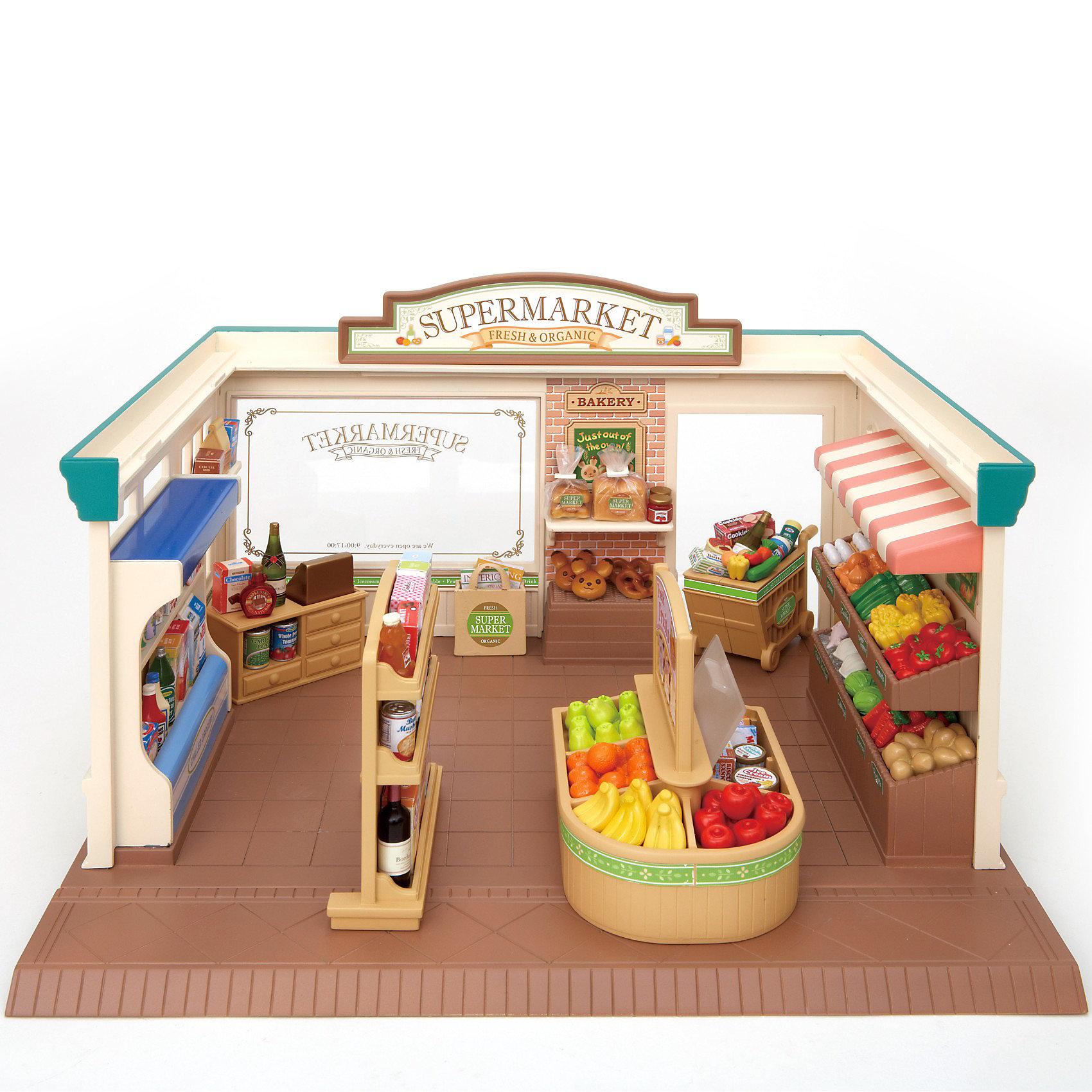 Набор Супермаркет, Sylvanian FamiliesНабор Супермаркет, Sylvanian Families - игровой набор, который наверняка порадует Вашего ребенка.<br>Супермаркет оборудован полками и стеллажами для продаваемых товаров, а также кассовым аппаратом.<br>В наборе также есть тележка для покупок покупателей и набор из продуктов и товаров, продаваемых в супермаркете (всевозможные баночки, коробочки, бутылочки, овощи, выпечка и др.)<br><br>Дополнительная информация:<br><br>- Совмещается с набором: «Магазин игрушек», «Магазин конфет» и «Трехэтажный дом».<br>- Размеры коробки: 32х19х26 см<br>- Фигурки персонажей в набор не входят<br><br>Набор Супермаркет, Sylvanian Families можно купить в нашем интернет магазине.<br><br>Ширина мм: 326<br>Глубина мм: 263<br>Высота мм: 195<br>Вес г: 1331<br>Возраст от месяцев: 36<br>Возраст до месяцев: 72<br>Пол: Женский<br>Возраст: Детский<br>SKU: 3345295