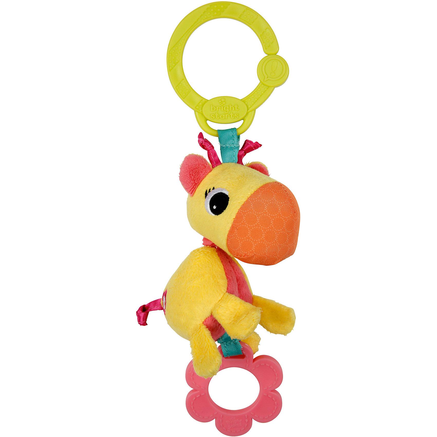 Развивающая игрушка Жираф, Bright StartsРазвивающие игрушки<br>Развивающая игрушка Жираф Bright Starts (Брайт Старс) представляет собой яркого и симпатичного жирафика, который легко прикрепляется к автокреслу, коляске или кроватке. У игрушки есть приятная особенность, которая непременно приведет в восторг Вашего малыша: стоит потянуть за игрушку, и она начнет вибрировать. Жирафик выполнен в ярких тонах, у него симпатичная мордочка, снизу есть резиновое колечко, которое можно погрызть, сверху - удобное крепление в виде пластикового кольца. Игрушка развивает мелкую моторику и цветовосприятие, поэтому идеальна для новорожденных!<br><br>Дополнительная информация:<br><br>- Идеально подходит для новорожденных;<br>- Удобное универсальное крепление;<br>- Вибрирующий эффект, который так нравится малышам;<br>- Прорезыватель;<br>- Яркие цвета;<br>- Безопасные материалы;<br>- Материал: пластик, текстиль;<br>- Размер игрушки: 8 х 5 х 26 см;<br>- Размер упаковки: 9 х 5 х 30 см;<br>- Вес упаковки: 150 г<br><br>Развивающую игрушку  Жираф, Bright Starts (Брайт Старс)  можно купить в нашем интернет-магазине.<br><br>Ширина мм: 410<br>Глубина мм: 190<br>Высота мм: 250<br>Вес г: 200<br>Возраст от месяцев: 0<br>Возраст до месяцев: 24<br>Пол: Унисекс<br>Возраст: Детский<br>SKU: 3345331