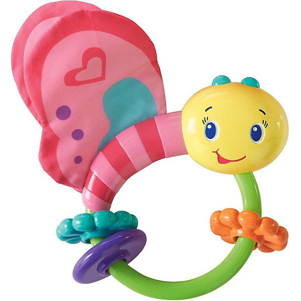 Погремушка Розовая бабочка, Bright StartsИгрушки для новорожденных<br>Яркая развивающая игрушка Розовая бабочка выполнена в виде забавной бабочки из современных, легких материалов разных цветов и фактур, абсолютно безопасных для ребенка. <br><br>Игрушка содержит в себе развивающие элементы: два шуршащих крылышка, три цветных рельефных колечка, два из которых выполнены в виде цветочка и удобную ручку, комфортную для маленькой ручки малыша. Внутри игрушки расположены маленькие шарики, гремящие при тряске. <br><br>Развивающая игрушка Розовая бабочка способствует развитию цветовосприятия, звуковосприятия и мелкой моторики рук.<br><br>Дополнительная информация:<br><br>- материал: легкие материалы разных цветов и фактур<br>- размер игрушки: 12 x 13 x 3 см.<br><br>ПогремушкуРозовая бабочка можно купить в нашем интернет магазине.<br>Ширина мм: 140; Глубина мм: 165; Высота мм: 40; Вес г: 95; Возраст от месяцев: 0; Возраст до месяцев: 12; Пол: Женский; Возраст: Детский; SKU: 3345339;