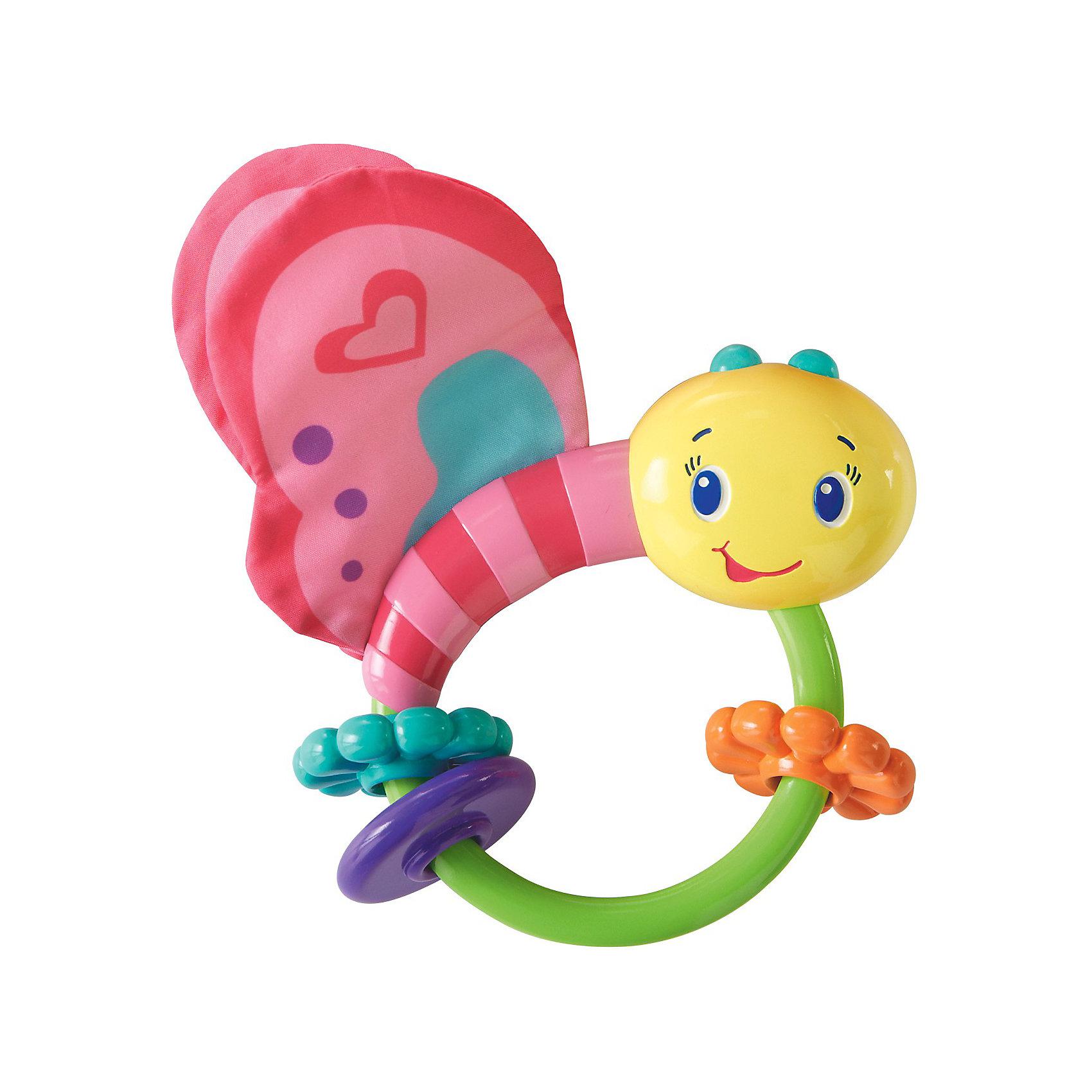 Погремушка Розовая бабочка, Bright StartsПогремушки<br>Яркая развивающая игрушка Розовая бабочка выполнена в виде забавной бабочки из современных, легких материалов разных цветов и фактур, абсолютно безопасных для ребенка. <br><br>Игрушка содержит в себе развивающие элементы: два шуршащих крылышка, три цветных рельефных колечка, два из которых выполнены в виде цветочка и удобную ручку, комфортную для маленькой ручки малыша. Внутри игрушки расположены маленькие шарики, гремящие при тряске. <br><br>Развивающая игрушка Розовая бабочка способствует развитию цветовосприятия, звуковосприятия и мелкой моторики рук.<br><br>Дополнительная информация:<br><br>- материал: легкие материалы разных цветов и фактур<br>- размер игрушки: 12 x 13 x 3 см.<br><br>ПогремушкуРозовая бабочка можно купить в нашем интернет магазине.<br><br>Ширина мм: 140<br>Глубина мм: 165<br>Высота мм: 40<br>Вес г: 95<br>Возраст от месяцев: 0<br>Возраст до месяцев: 12<br>Пол: Женский<br>Возраст: Детский<br>SKU: 3345339