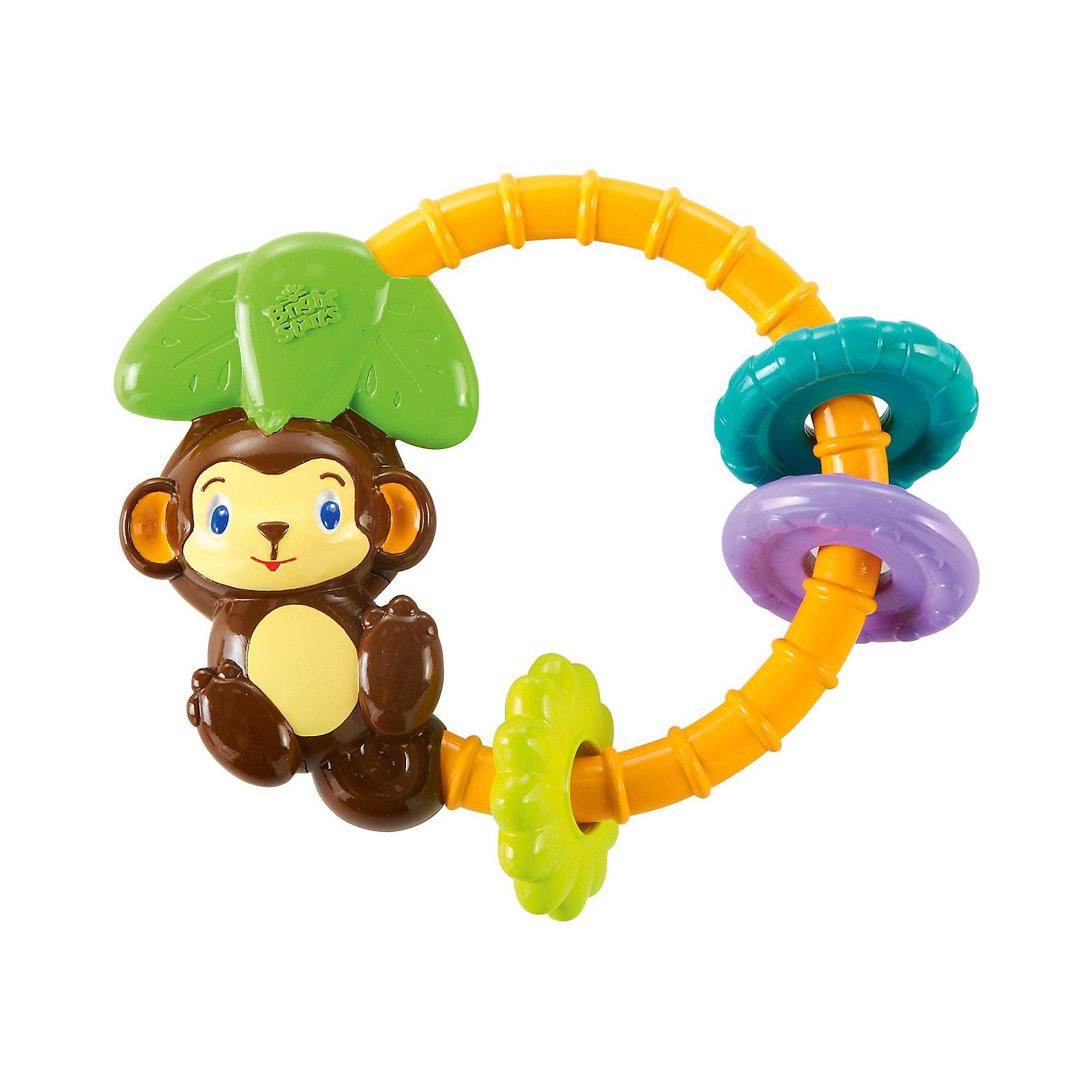 Погремушка Обезьянка, Bright StartsПогремушки<br>Обезьянка – это разноцветная рельефная погремушка, которая сможет развлечь малыша. Она предназначается для крох возрастом от 3 месяца до 1 года. Рельефная погремушка издает забавные звуки джунглей. Чтобы услышать короткие мелодии и звуки животных достаточно потрясти игрушку. Ребенок с легкостью сможет схватить ее маленькими ручками. Погремушка развивает слух и моторику малыша. <br><br>Дополнительная информация:<br><br>- материал: пластик <br>- цвет: многоцветный<br>- размер упаковки (коробки):16 х 3 х 20 см.<br>- вес: 12 гр.<br><br>Погремушку Обезьянка можно купить в нашем интернет магазине.<br><br>Ширина мм: 160<br>Глубина мм: 200<br>Высота мм: 30<br>Вес г: 117<br>Возраст от месяцев: 0<br>Возраст до месяцев: 12<br>Пол: Унисекс<br>Возраст: Детский<br>SKU: 3345340