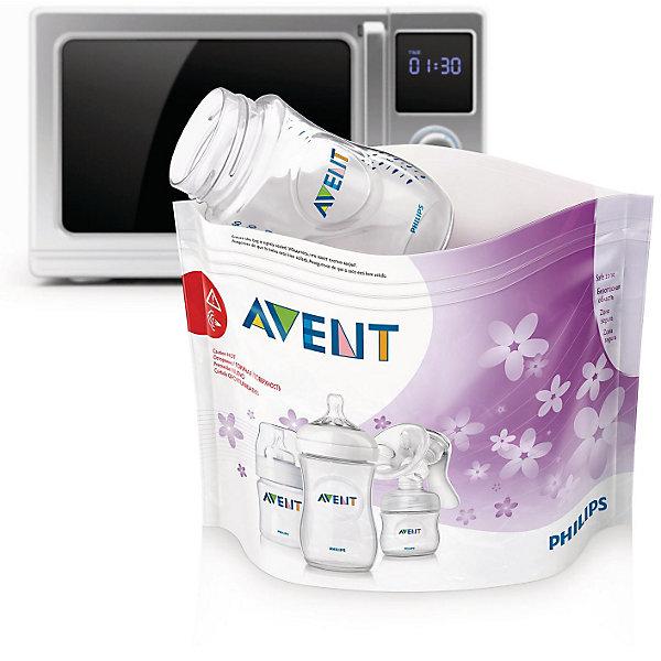 Пакеты для стерилизации в микроволновой печи , 5 шт., AVENTCтерилизаторы<br>Пакеты для стерилизации в микроволновой печи Philips AVENT (Филипс АВЕНТ) SCF297/05 - идеальное решение для стерилизации в поездках!<br><br>Одна потребительская упаковка — 100 циклов стерилизации<br>Одна потребительская упаковка содержит 5 пакетов для микроволновой печи, каждый из которых можно использовать не менее 20 раз.<br><br>Удобство использования благодаря продуманному дизайну<br><br>- Легко использовать. На каждом пакете изображены пошаговые инструкции.<br>- Окошко для просмотра. Для более эффективной стерилизации в пакете предусмотрено окошко, с помощью которого можно проверить расположение изделия внутри пакета.<br>- Поля для пометок. В специальном поле можно отмечать, сколько раз был использован продукт.<br>- Безопасная область. Пакеты для стерилизации имеют область, с помощью которой его можно безопасно извлечь из микроволновой печи после завершения цикла стерилизации. Удобство использования без риска получения ожога.<br><br>Быстрая и эффективная стерилизация.<br>Стерилизация бутылочек, молокоотсосов и других детских изделий всего за 90 секунд! Эффективный результат — уничтожение 99,9 % микробов и бактерий.<br><br>В комплект входят:<br>Пакет для стерилизации в микроволновой печи: 5 шт.<br><br>Дополнительная информация:<br><br>Объем пакета: Стерилизация одновременно до трех бутылочек или одного молокоотсоса<br>Размеры пакета: 278 мм x 210 мм<br>Материал пакета: infoPET12, CPP60<br><br>Пакеты для стерилизации в микроволновой печи AVENT, 5 шт. SCF297/05 можно купить в нашем интернет-магазине.<br><br>Ширина мм: 40<br>Глубина мм: 106<br>Высота мм: 156<br>Вес г: 109<br>Возраст от месяцев: 0<br>Возраст до месяцев: 24<br>Пол: Унисекс<br>Возраст: Детский<br>SKU: 3345777