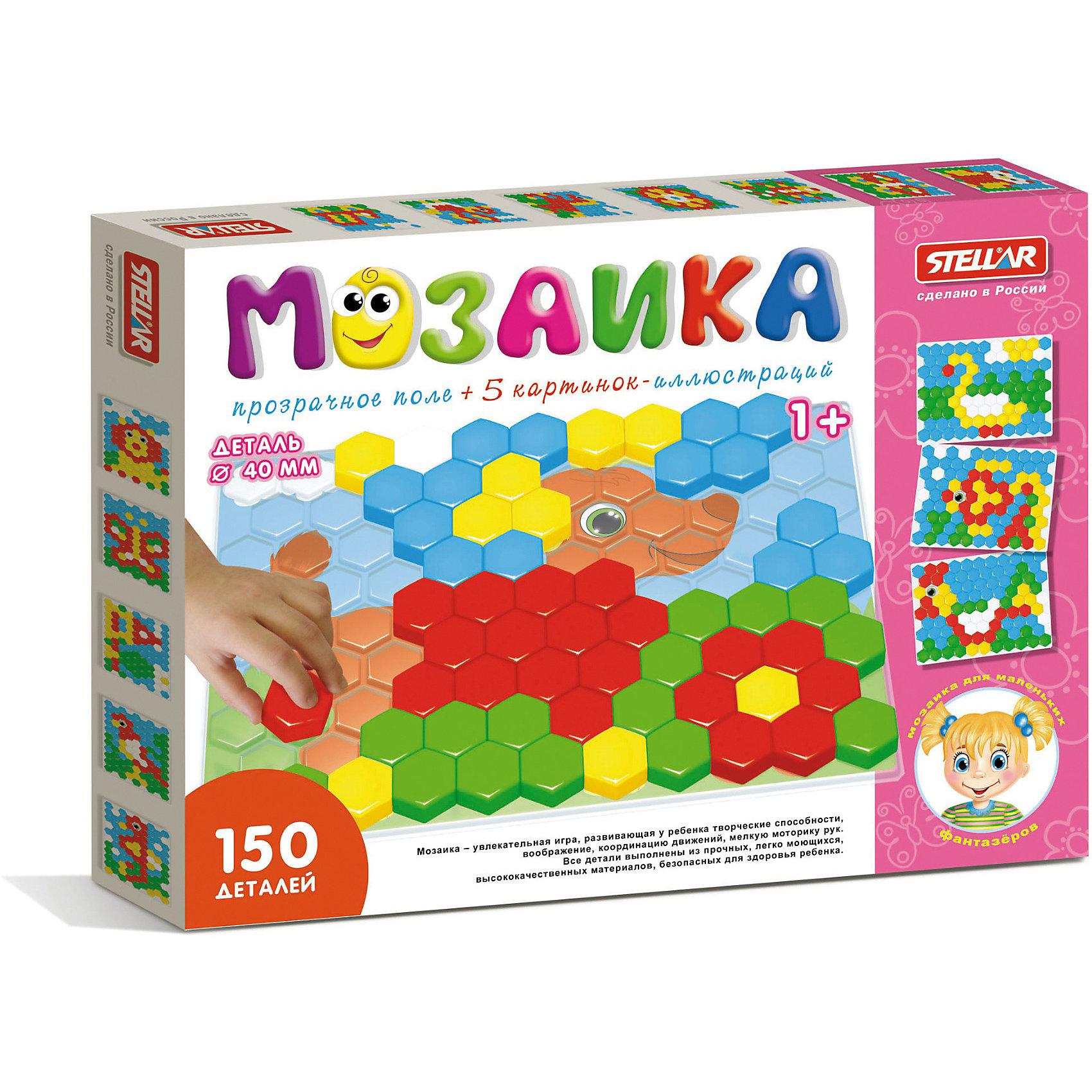 Мозаика с прозрачным полем, 150 деталей, СтелларМозаика с прозрачным полем, 150 деталей, Стеллар (Stellar) - это яркая и увлекательная игра для детей. Ребенок может создавать различные объемные цветные картинки с помощью разноцветных пластиковых фишек. К мозаике прилагается буклет с различными изображениями.<br><br>Игры с мозаикой  способствуют развитию у малышей мелкой моторики рук, координации движений, внимательности, логического и абстрактного мышления, а также знакомят их с понятиями формы, цвета, размера предмета.<br><br>Порадуйте малыша прекрасным подарком!<br><br>Дополнительная информация:<br><br>- В комплекте: 150 деталей<br>- Материал: пластмасса<br>- Размер поля: 490 х 370 мм<br>- Диаметр элементов: 40 мм<br>- Размер упаковки: 495 х 4 х 375 мм<br>- Вес: 980 г.<br><br>Мозаику с прозрачным полем, 150 деталей, Стеллар (Stellar) можно купить в нашем интернет-магазине.<br><br>Ширина мм: 495<br>Глубина мм: 4<br>Высота мм: 375<br>Вес г: 980<br>Возраст от месяцев: 12<br>Возраст до месяцев: 60<br>Пол: Унисекс<br>Возраст: Детский<br>SKU: 3350209