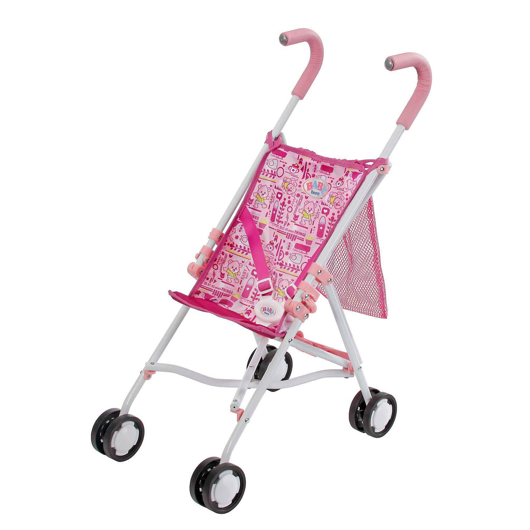 Кукольная коляска-трость, с сеткой, BABY bornБренды кукол<br>Кукольная коляска-трость BABY born (Беби Борн) станет замечательным подарком для Вашей девочки и разнообразит игру с любимой куклой. Коляска приятной розовой расцветки оснащена ремнями безопасности, чтобы куколка не выпала во время прогулки, и удобными для ребенка прорезиненными ручками. Укрепленные колеса обеспечивают хорошую проходимость и маневренность. Сзади коляски имеется сетка для перевозки вещей. Облегченная конструкция позволяет ребенку без усилий управлять коляской. Коляска легко складывается, что позволяет брать ее с собой повсюду, где это необходимо.  <br><br>Дополнительная информация:<br><br>- Материал: текстиль, пластмасса, металл.<br>- Размер упаковки: 59 х 10 х 10 см.<br>- Вес: 1,2 кг.<br><br>Кукольную коляску-трость BABY born (Беби Бон) можно купить в нашем интернет-магазине.<br><br>Ширина мм: 728<br>Глубина мм: 215<br>Высота мм: 142<br>Вес г: 1177<br>Возраст от месяцев: 36<br>Возраст до месяцев: 60<br>Пол: Женский<br>Возраст: Детский<br>SKU: 3350431