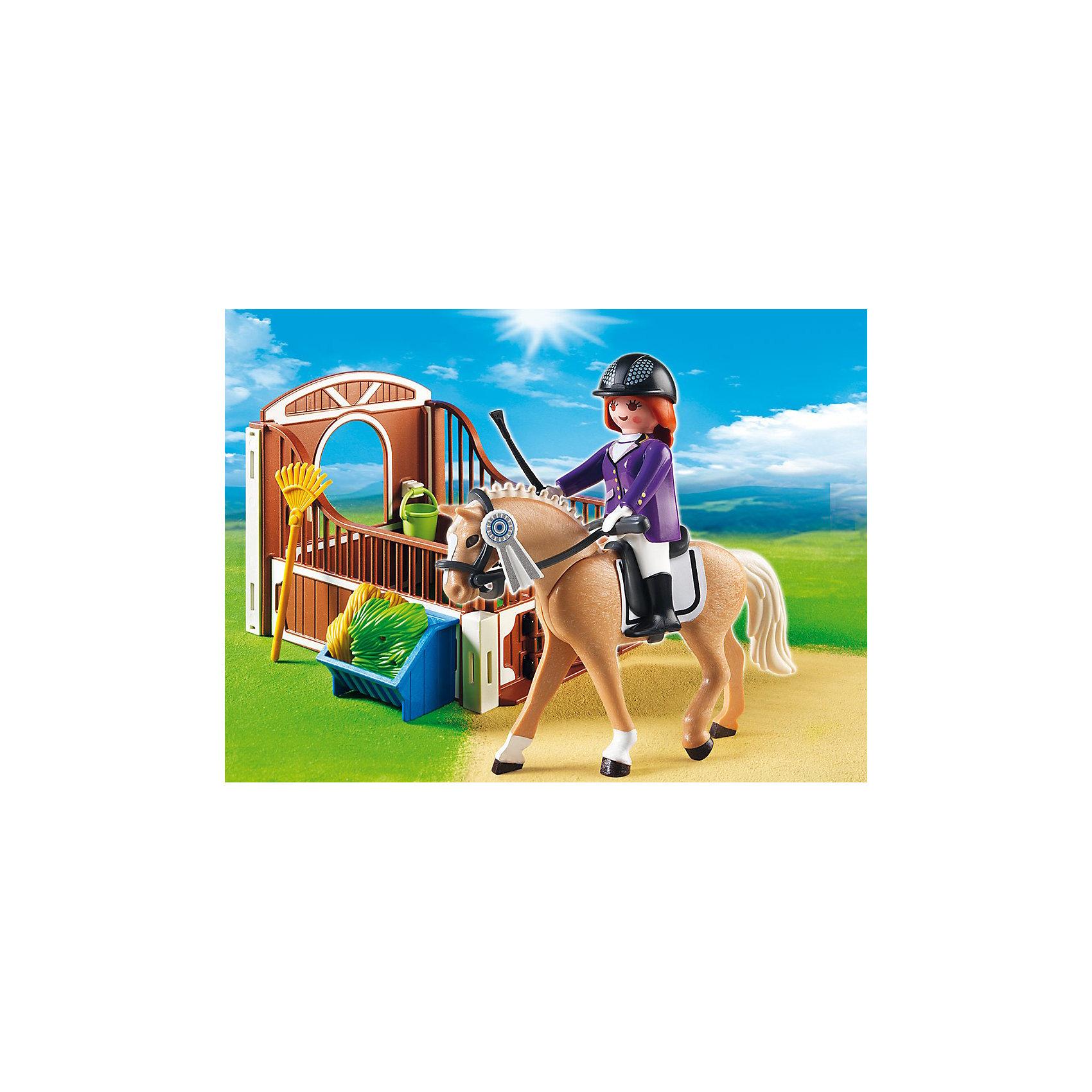 PLAYMOBIL 5520 Конный клуб: Лошадка для прогулок и загонКонструктор PLAYMOBIL (Плеймобил) 5520 Конный клуб: Лошадка для прогулок и загон - находка для заботливых родителей! Конструктор Вашего ребенка должен быть именно таким: красочным, безопасным и очень интересным. Серия Конный клуб специально создана для малышей которые обожают лошадей. Эти сильные и красивые животные помогают людям и участвуют в захватывающих соревнованиях, в которых проявляют свою силу и грацию! Из деталей набора Лошадка для прогулок и загон малыш сможет построить место, где лошадка сможет отдохнуть после соревнований и долгих прогулок. Заведя лошадку в стоило, ее нужно напоить и накормить вкусным сеном. Поддерживай загон в чистоте и лошадка будет тебе благодарна. Создай увлекательные сюжеты с набором Лошадка для прогулок и загон или объедини его с другими наборами серии и игра станет еще интереснее. Придумывая замечательные сюжеты с деталями конструктора, Ваш ребенок развивает фантазию, учится заботе и просто прекрасно проводит время!<br><br>Дополнительная информация:<br><br>- Конструкторы PLAYMOBIL (Плеймобил) отлично развивают мелкую моторику, фантазию и воображение;<br>- В наборе: минифигурка наездницы, лошадка, детали для постройки загона, контейнер, ведро, уздечка, сено, инструменты, аксессуары;<br>- Количество элементов: 31 шт;<br>- Материал: безопасный пластик;<br>- Размер минифигурки: 7,5 см;<br>- Размер упаковки: 25 х 15 х 5 см<br><br>Конструктор PLAYMOBIL (Плеймобил) 5520 Конный клуб: Лошадка для прогулок и загон можно купить в нашем интернет-магазине.<br><br>Ширина мм: 339<br>Глубина мм: 154<br>Высота мм: 56<br>Вес г: 209<br>Возраст от месяцев: 48<br>Возраст до месяцев: 120<br>Пол: Женский<br>Возраст: Детский<br>SKU: 3350616