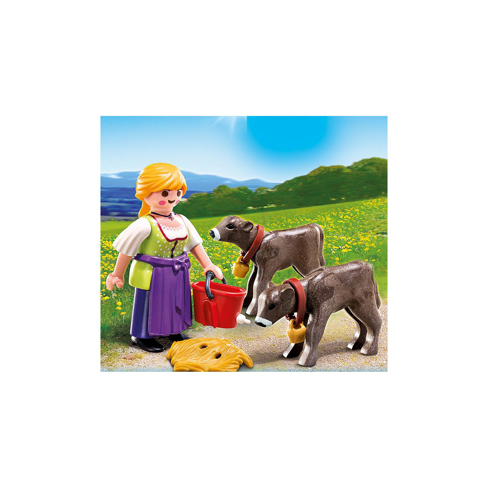 PLAYMOBIL® PLAYMOBIL 4778 Дополнение: Крестьянка с телятами playmobil® в поисках приключений семья рысей с кинооператором playmobil