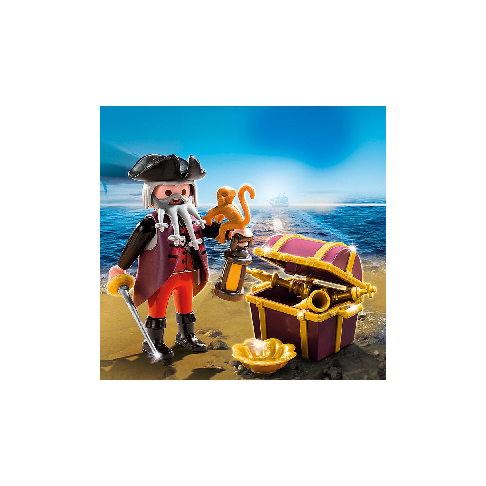 Экстра-набор: Пират и сундук с сокровищами, PLAYMOBILКонструктор PLAYMOBIL (Плеймобил) 4783 Дополнение: Пират и сундук с сокровищами - прекрасная возможность для ребенка проявить свой творческий потенциал! Серия Дополнение создана специально, чтобы сделать игры с Вашими конструкторами PLAYMOBIL (Плеймобил) еще интереснее. Пират и сундук с сокровищами станут прекрасным дополнением к наборам из серии Пираты от PLAYMOBIL (Плеймобил). Пират вместе с награбленными сокровищами попал на необитаемый остров. С ним его ручная обезьянка и помощница-сабля. Пускайся в незабываемые приключения с набором PLAYMOBIL (Плеймобил) 4783 Дополнение: Пират и сундук с сокровищами!<br><br>Дополнительная информация:<br><br>- Конструкторы PLAYMOBIL (Плеймобил) отлично развивают мелкую моторику, фантазию и воображение;<br>- В наборе: минифигурка пирата, фонарик, сундук, меч, обезьянка, сокровища;<br>- Количество деталей: 11 шт;<br>- Материал: безопасный пластик;<br>- Размер минифигурки: 7,5 см;<br>- Размер упаковки: 14 х 10 х 4 см<br><br>Конструктор PLAYMOBIL (Плеймобил) 4783 Дополнение: Пират и сундук с сокровищами можно купить в нашем интернет-магазине.<br><br>Ширина мм: 158<br>Глубина мм: 104<br>Высота мм: 38<br>Вес г: 59<br>Возраст от месяцев: 48<br>Возраст до месяцев: 120<br>Пол: Мужской<br>Возраст: Детский<br>SKU: 3350628