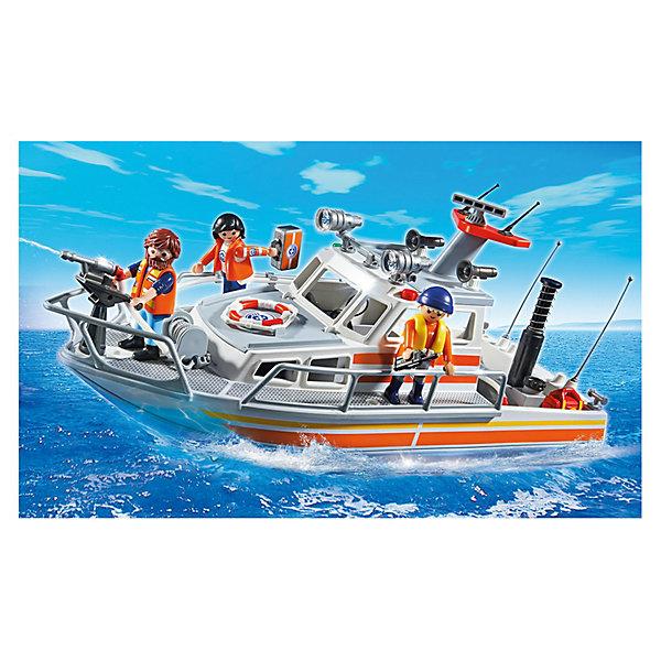 PLAYMOBIL 5540 Береговая охрана: Спасательный крейсерКорабли и лодки<br>Конструктор PLAYMOBIL (Плеймобил) 5540 Береговая охрана: Спасательный крейсер - находка для заботливых родителей! Конструктор Вашего ребенка должен быть именно таким: красочным, безопасным и очень интересным. Серия Береговая охрана посвящена важной работе команды, которая следит за безопасностью судов и пассажиров во вверенной ей акватории. У службы много техники и оборудования с помощью которого они с успехом проводят сложные спасательные операции на воде. Спасательный крейсер со специальной командой на борту используется береговой охраной для буксировки пострадавших кораблей, спасения пассажиров и даже для тушения пожаров. Размотай рукава шлангов, набери воды в отсек и с помощью помпы качай воду и туши пожар на судне. Используй лебедку, чтобы отбуксировать севшее на мель судно. Если пассажирам понадобится медицинская помощь, на борту есть врач со всем необходимым оборудованием. С помощью этого замечательного набора Вы сможете с легкостью показать ребенку правила оказания первой помощи. Создай увлекательные сюжеты с набором Спасательный крейсер или объедини его с другими наборами серии и игра станет еще интереснее. Придумывая замечательные сюжеты с деталями конструктора, Ваш ребенок развивает фантазию, учится заботе и просто прекрасно проводит время!<br><br>Дополнительная информация:<br><br>- Конструкторы PLAYMOBIL (Плеймобил) отлично развивают мелкую моторику, фантазию и воображение;<br>- В наборе: 3 минифигурки (врач, два спасателя), крейсер, рукава, рация, спасательный круг, аптечка, аксессуары;<br>- Количество деталей: 69 шт;<br>- Материал: безопасный пластик;<br>- Размер минифигурок: 7,5 см;<br>- Размер упаковки: 31 х 26 х 41 см<br><br>Конструктор PLAYMOBIL (Плеймобил) 5540 Береговая охрана: Спасательный крейсер можно купить в нашем интернет-магазине.<br><br>Ширина мм: 400<br>Глубина мм: 253<br>Высота мм: 157<br>Вес г: 1112<br>Возраст от месяцев: 48<br>Возраст до месяцев: 120<br>Пол: Мужск