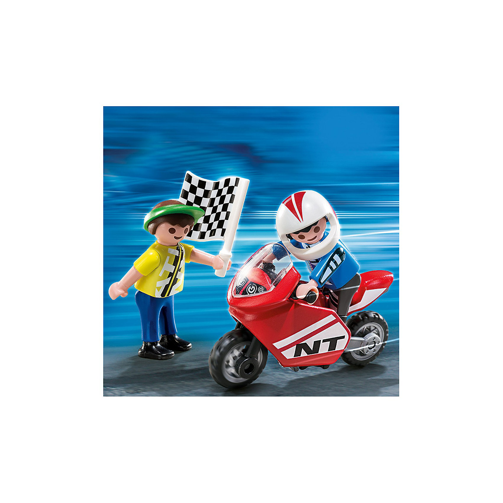 Экстра-набор: Мальчики с гоночным мотоциклом, PLAYMOBILКонструктор PLAYMOBIL (Плеймобил) 4780 Дополнение: Мальчики с гоночным мотоциклом - прекрасная возможность для ребенка проявить свой творческий потенциал! Серия Дополнение создана специально, чтобы сделать игры с Вашими конструкторами PLAYMOBIL (Плеймобил) еще интереснее. Мальчики с гоночным мотоциклом станут прекрасным дополнением к наборам из серии Гонки от PLAYMOBIL (Плеймобил). Стартовый флажок взмахнет вверх и гонка началась! Гонять на спортивном мотоцикле - мечта всех мальчишек. Надень шлем и выполняй самые захватывающие трюки с конструктором PLAYMOBIL (Плеймобил) 4780 Дополнение: Мальчики с гоночным мотоциклом.<br><br>Дополнительная информация:<br><br>- Конструкторы PLAYMOBIL (Плеймобил) отлично развивают мелкую моторику, фантазию и воображение;<br>- В наборе: 2 минифигурки (гонщик и стартер), мотоцикл, шлем, флажок;<br>- Количество деталей: 13 шт;<br>- Материал: безопасный пластик;<br>- Размер минифигурок: 5,2 см;<br>- Размер упаковки: 14 х 10 х 4 см<br><br>Конструктор PLAYMOBIL (Плеймобил) 4780 Дополнение: Мальчики с гоночным мотоциклом можно купить в нашем интернет-магазине.<br><br>Ширина мм: 145<br>Глубина мм: 101<br>Высота мм: 38<br>Вес г: 51<br>Возраст от месяцев: 48<br>Возраст до месяцев: 120<br>Пол: Мужской<br>Возраст: Детский<br>SKU: 3350683