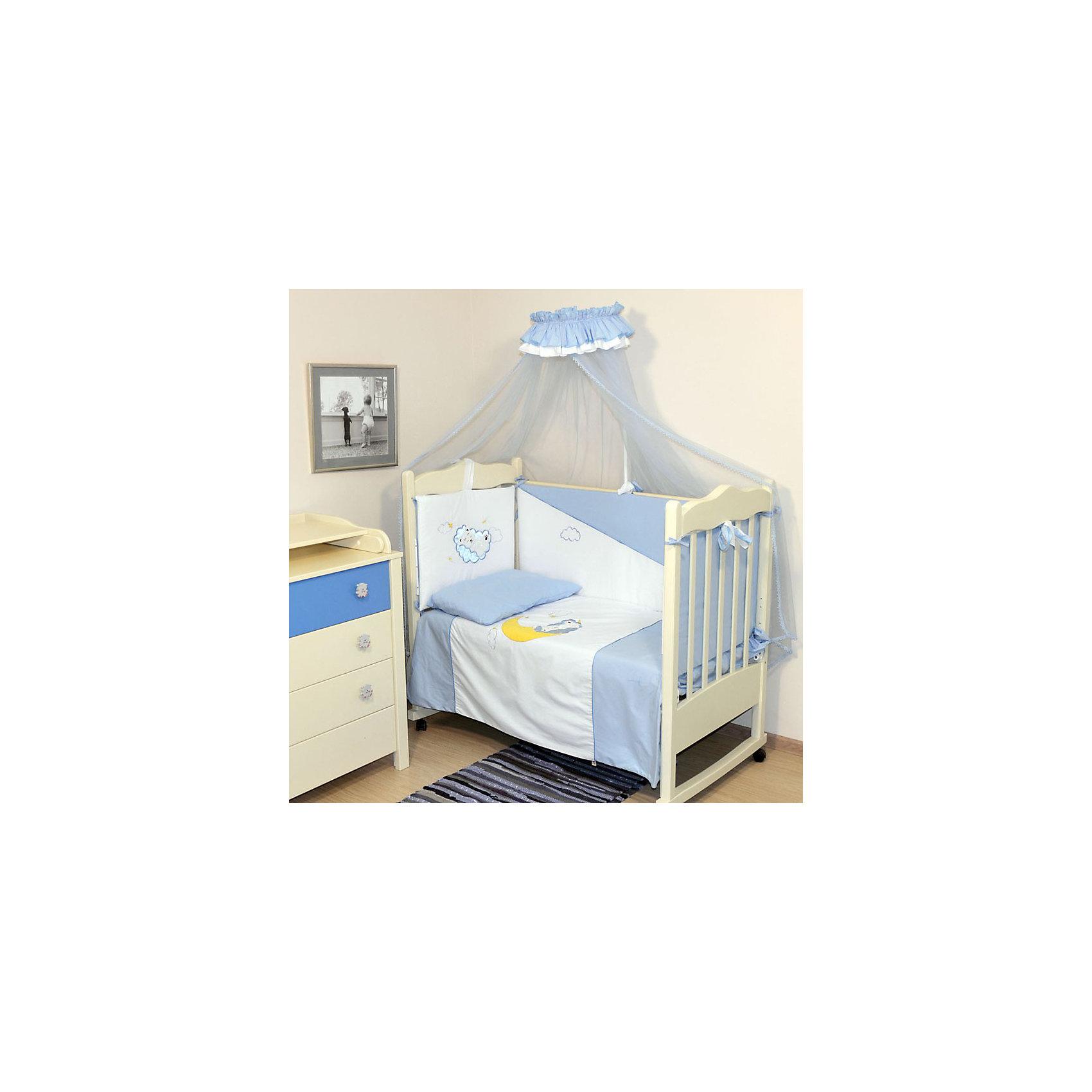 Комплект в кроватку Марсель, 7 предметов, голубой