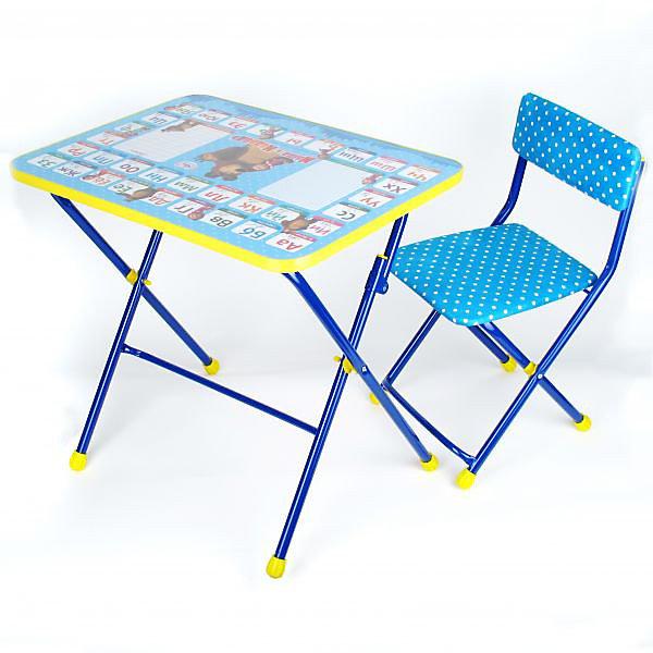 Набор детской мебели Азбука 2 Маша и медведь, синийДетские столы и стулья<br>С комплектом складной детской мебели Ваш малыш будет с удовольствием получать новые знания. Комплект изготовлен из металлического каркаса. Столешница облицована пленкой с тематическим рисунком.<br>В комплекте: стол и стул с мягким сиденьем.<br><br>Дополнительная информация:<br><br>- размеры стола 45 х 74 х 1,5 см<br>- стул с мягкой сидушкой шириной 28<br>- высота стула 32 см<br>- на ножках стола и стула установлены пластмассовые наконечники<br><br>Набор детской мебели Азбука 2 Маша и медведь, синий можно купить в нашем магазине.<br>Ширина мм: 450; Глубина мм: 150; Высота мм: 740; Вес г: 8200; Возраст от месяцев: 24; Возраст до месяцев: 84; Пол: Женский; Возраст: Детский; SKU: 3357386;