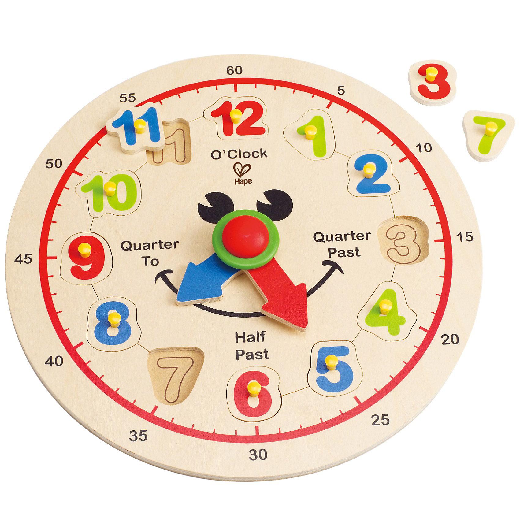 Игрушка деревянная Счастливые часы, HapeИгрушка деревянная Счастливые часы от Hape - обязательно понравится малышу! С помощью этих добродушно улыбающихся часиков ребенок сможет выучить цифры и научиться распознавать время.<br> На циферблате изображены часы и секунды, стрелки легко двигаются. Родители могут играть вместе с ребенком, одновременно обучая его: необходимо перевернуть игрушку, высыпать и перемешать цифры, теперь малышу предстоит самостоятельно разместить их на циферблате в правильном порядке. <br> Все фигурки вырезаны вручную, а картинки нанесены непосредственно на деревянное основание, что говорит о высоком качестве изделия.<br><br>Дополнительно:<br>Размер упаковки: 29 х 29 см<br>Размер игрушки: 30 х 3,6 см <br><br>Игрушка деревянная Счастливые часы, Hape - можно купить в нашем интернет - магазине.<br><br>Ширина мм: 300<br>Глубина мм: 35<br>Высота мм: 300<br>Вес г: 5800<br>Возраст от месяцев: 36<br>Возраст до месяцев: 72<br>Пол: Унисекс<br>Возраст: Детский<br>SKU: 3357931