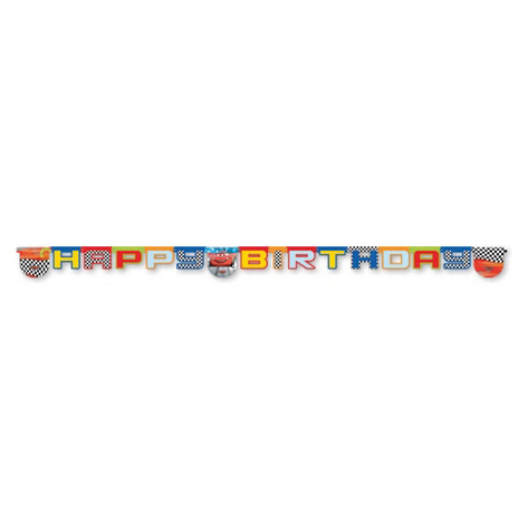 Гирлянда Тачки на старте, Happy BirthdayТачки<br>Гирлянда Тачки (Cars) на старте Happy Birthday.<br>Гирлянда с надписью Happy Birthday, выполненная в стиле мультфильма «Тачки (Cars)» украсит комнату к празднику, создаст атмосферу торжества и подарит хорошее настроение детям!  <br><br>В набор входит 1 гирлянда.<br><br><br>Дополнительная информация:<br><br>224х212х31 мм<br><br>Поднимет настроение всей компании Вашего малыша!<br>Легко приобрести в нашем интернет-магазине!<br><br>Ширина мм: 224<br>Глубина мм: 212<br>Высота мм: 31<br>Вес г: 46<br>Возраст от месяцев: 36<br>Возраст до месяцев: 84<br>Пол: Мужской<br>Возраст: Детский<br>SKU: 3360049