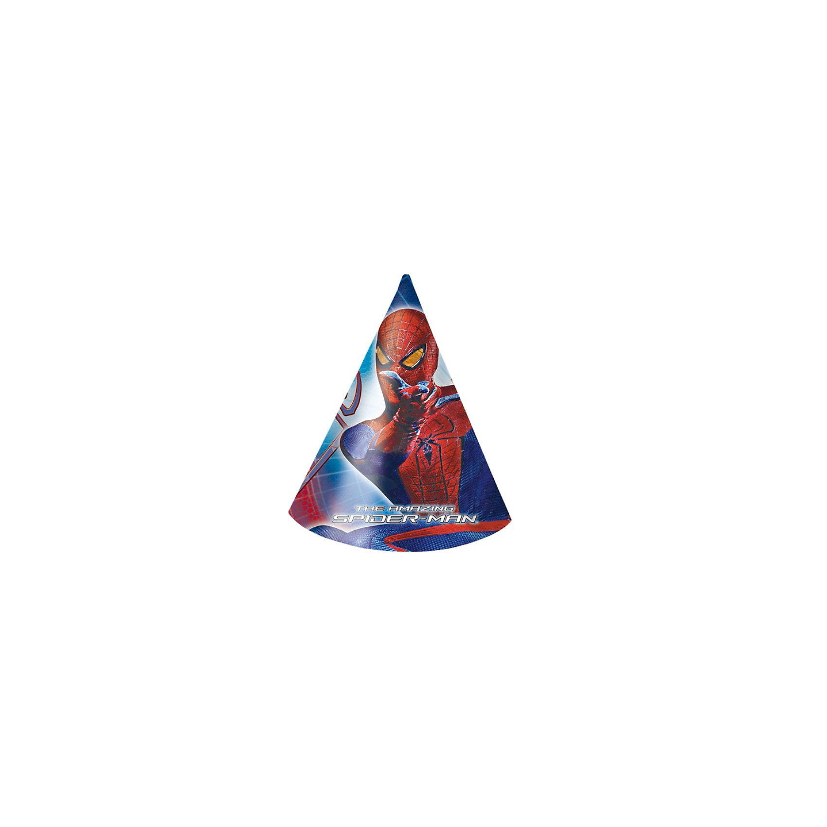 Колпаки Человек-Паук - Невероятный, 6 шт.Колпаки Человек-Паук - Невероятный, 6 шт.<br>Высота колпака: 15.5 см. <br>Количество в упаковке: 6 шт. <br>Колпаки Человек-Паук (Spider-Man) - Невероятный от компании Procos станут прекрасным дополнением к празднику, особенно если ваш ребенок - настоящий поклонник Спайдермена. <br>Колпаки сделаны из плотного картона и удерживаются на голове с помощью резинки.<br><br>Дополнительная информация:<br><br>10х160х235 мм<br><br>Поднимет настроение всей компании Вашего малыша!<br>Легко приобрести в нашем интернет-магазине!<br><br>Ширина мм: 10<br>Глубина мм: 160<br>Высота мм: 235<br>Вес г: 58<br>Возраст от месяцев: 36<br>Возраст до месяцев: 84<br>Пол: Мужской<br>Возраст: Детский<br>SKU: 3360059