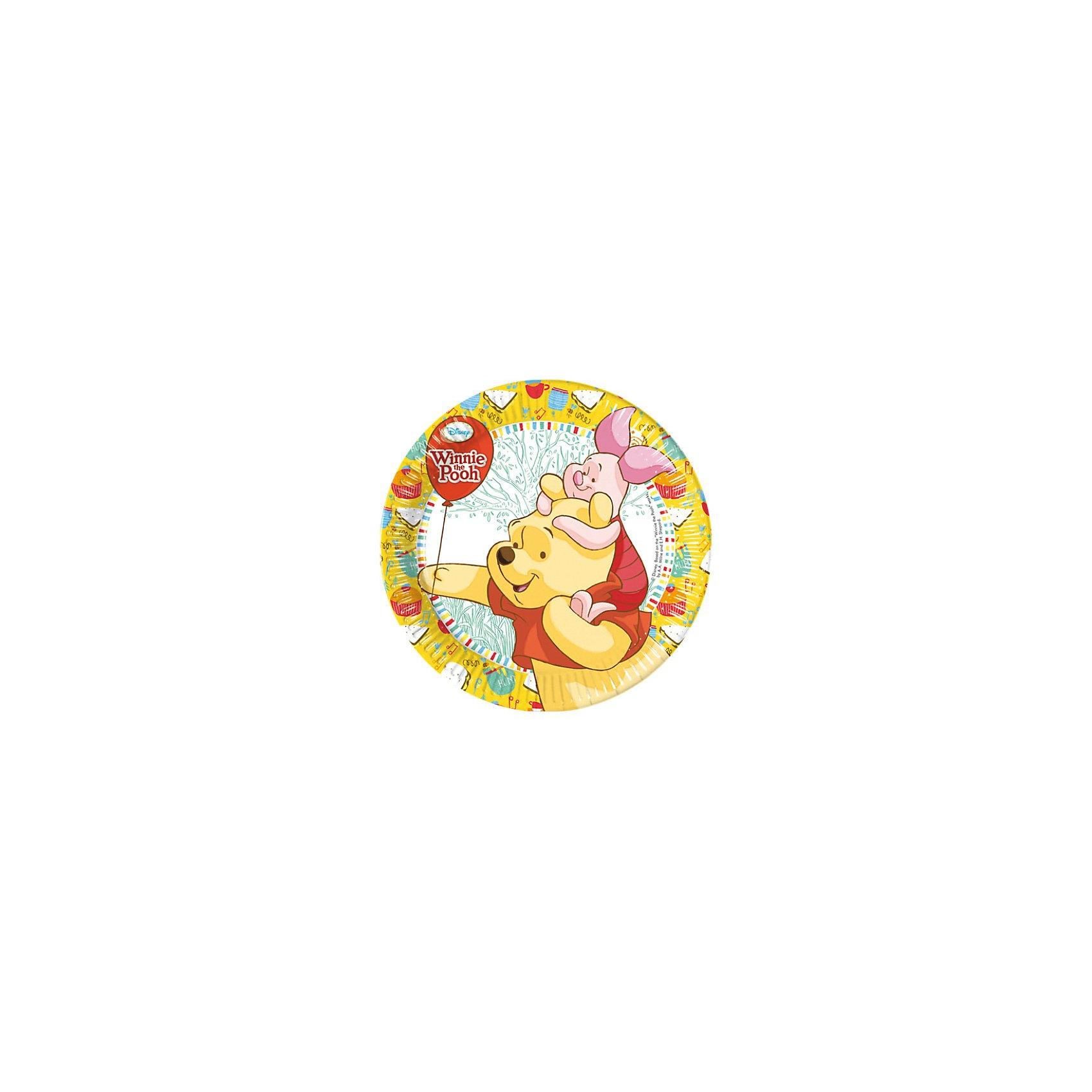 Тарелки Винни и Хрюня, 20 см, 8 шт.Тарелки Винни и Хрюня 20 см, 8 шт.<br>В набор входят 8 одноразовых тарелок диаметром 20 см с изображением любимых детских персонажей из диснеевского мультфильма и сказки про Винни-Пуха и его друга Пятачка.  <br>Такая посуда поможет оживить красками праздничный детский стол и избавит от необходимости бесконечно мыть посуду для маленьких гостей. Греческая компания Procos выпускает по лицензии Disney и других мировых брендов отличные товары для организации детских праздников, карнавалов и вечеринок. Вся продукция компании производится из безопасных и нетоксичных материалов. <br><br><br>Дополнительная информация:<br><br>200х200х20 мм<br><br>Поднимет настроение всей компании Вашего малыша!<br>Легко приобрести в нашем интернет-магазине!<br><br>Ширина мм: 200<br>Глубина мм: 200<br>Высота мм: 20<br>Вес г: 140<br>Возраст от месяцев: 36<br>Возраст до месяцев: 84<br>Пол: Унисекс<br>Возраст: Детский<br>SKU: 3360111