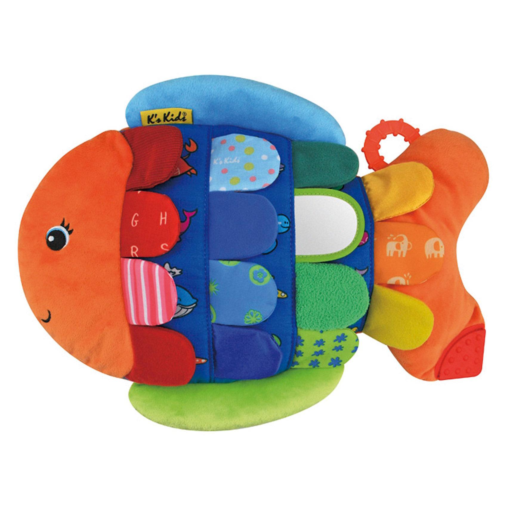 Развивающая игрушка Рыбка- Флиппер, Ks KidsРыбка-Флиппер надолго займёт малыша, предлагая ему разнообразные развлечения и интересные игры. Чешуйки рыбки сделаны из тканей разной фактуры, чтобы малыш развивал осязание. Под лоскутками спрятаны изображения морских животных - так открывая их, малыш будет тренировать  память. Также у Флиппера есть зеркальце и прорезыватель, то есть ребенок стимулирует любопытство и может снять зуд с дёсен, если в этом есть необходимость. Когда малышу захочется отдохнуть,  то  Рыбка-Флиппер будет ему хорошей подушкой.<br><br>Дополнительная информация:<br><br>- материал: текстиль <br>- цвет:  разноцветный<br>- размер товара: 37 х 28,5 х 4 см.<br>- размер упаковки: 38,5 x 28 x 7,5 см. <br>- вес : 553 гр.<br><br>Рыбку-Флиппер от Ks Kids можно купить в нашем интернет-магазине.<br><br>Ширина мм: 380<br>Глубина мм: 80<br>Высота мм: 290<br>Вес г: 553<br>Возраст от месяцев: 18<br>Возраст до месяцев: 36<br>Пол: Унисекс<br>Возраст: Детский<br>SKU: 3360851