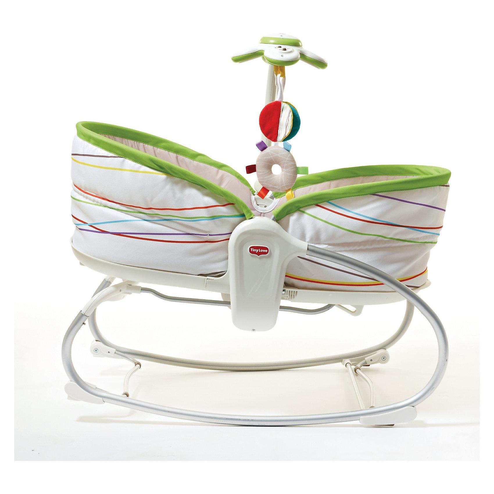 Люлька - баунсер 3 в 1, Сад, Tiny Love (2 поколение)Идеи подарков<br>Люлька - баунсер 3 в 1, Сад, Tiny Love (Тини Лав) - это интерактивный электронный мобиль, работающий в режиме развлечения и убаюкивания, 7 вариантов мелодий.<br>Очаровательные игрушки-подвески: шуршалка в виде улитки и зеркало в виде цветка.<br>Уровень наклона кресла можно регулировать в 3 положениях (смена положения одной рукой).<br>Устройство вибрации (не входящее в резонанс с биологическими ритмами человека, не  вызывает расстройства вестибулярного аппарата и не может вызвать привыкания).<br>Возможность отключения вибрации.<br>Мягкая ткань подкладки обеспечивает комфорт Вашего малыша.<br>Жесткий ортопедический двусторонний матрас.<br>Противоскользящие ножки.<br>Мягкий чехол и ремни безопасности.<br><br>Дополнительной функцией данного кресла является механическая люлька, которая позволит маме по-старинке укачивать малыша, а специальные стопперы и регулятор высоты кресла позволят зафиксировать его как в положение полулежа так, и превратить в уютную колыбельку для малыша.<br><br>Инновация 2 поколения:<br>Внешняя сторона капора люльки выполнена из материла с силиконовой пропиткой – экологически чистым антистатиком – не притягивает пыль и грязь.<br>В борт защитного капора встроен ионизированный древесно-уголный фильтр, который призван очищать и обеззараживать воздух в колыбели<br><br>Дополнительная информация:<br><br>Нагрузка  18 кг – усиленный профиль рамы.<br>В комплект входит: <br>кресло в сборе - 1 шт.,<br>съемный  элемент с  электронной игрушкой - 1 шт.,<br>погремушка - 2 шт.,<br>инструкция - 1 шт.<br>Внутренние размеры люльки 70х35 см<br>Требуются батарейки: 3 шт. категории ААА, 1 шт. тип С.<br><br>Люльку - баунсер 3 в 1, Сад, Tiny Love (Тини Лав) можно купить в нашем магазине.<br><br>Ширина мм: 640<br>Глубина мм: 180<br>Высота мм: 440<br>Вес г: 6000<br>Возраст от месяцев: 0<br>Возраст до месяцев: 24<br>Пол: Унисекс<br>Возраст: Детский<br>SKU: 3360858