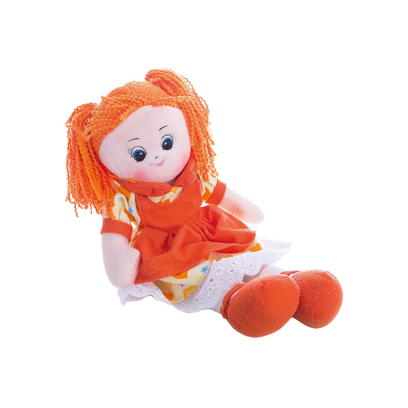 Кукла в платье с сердечками Апельсинка, 40 см, GulliverМягкие куклы<br>Эта рыжеволосая Апельсинка в ярком оранжевом платье от бренда Gulliver будет рада подружиться с Вашей малышкой и доставит ей много радости!<br><br>Куколка изготовлена из гипоаллергенного синтепона и высококачественного велюра, очень приятного на ощупь. Все материалы абсолютно безопасны для здоровья Вашего ребенка.<br><br>Игрушка не деформируется и не теряет внешний вид при машинной стирке.<br><br>Кукла в платье с сердечками Апельсинка от Gulliver станет прекрасным подарком для Вашей девочки!<br><br>Дополнительная информация:<br><br>- Высота куклы: 40 см<br>- Вес: 0,156 кг<br>- Материал: высококачественный плюш и гипоаллергенный синтепон<br>- Подходит для деликатной машинной стирки<br><br>Куклу Апельсинку от Gulliver легко купить в нашем интернет-магазине.<br><br>Ширина мм: 150<br>Глубина мм: 390<br>Высота мм: 80<br>Вес г: 312<br>Возраст от месяцев: 24<br>Возраст до месяцев: 84<br>Пол: Женский<br>Возраст: Детский<br>SKU: 3360866