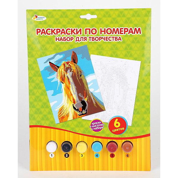 Раскраска по номерам ЛошадьНаборы для раскрашивания<br>Раскраска по номерам Лошадь. <br>Станет прекрасным развивающим творческие способности Вашего малыша подарком. Понятная инструкция, четкий контур помогут Вашему юному художнику создать настоящий шедевр живописи! <br><br>Дополнительная информация:<br><br>В наборе: <br>картинка-основа с нанесённым контуром, <br>краски 6 цветов,<br>кисточка, <br>палитра, <br>инструкция<br><br>Надолго сохранит воспоминания о прекрасных минутах творчества!<br><br>Раскраску по номерам Лошадь можно приобрести в нашем интернет-магазине!<br><br>Ширина мм: 20<br>Глубина мм: 220<br>Высота мм: 290<br>Вес г: 160<br>Возраст от месяцев: 24<br>Возраст до месяцев: 84<br>Пол: Унисекс<br>Возраст: Детский<br>SKU: 3361175