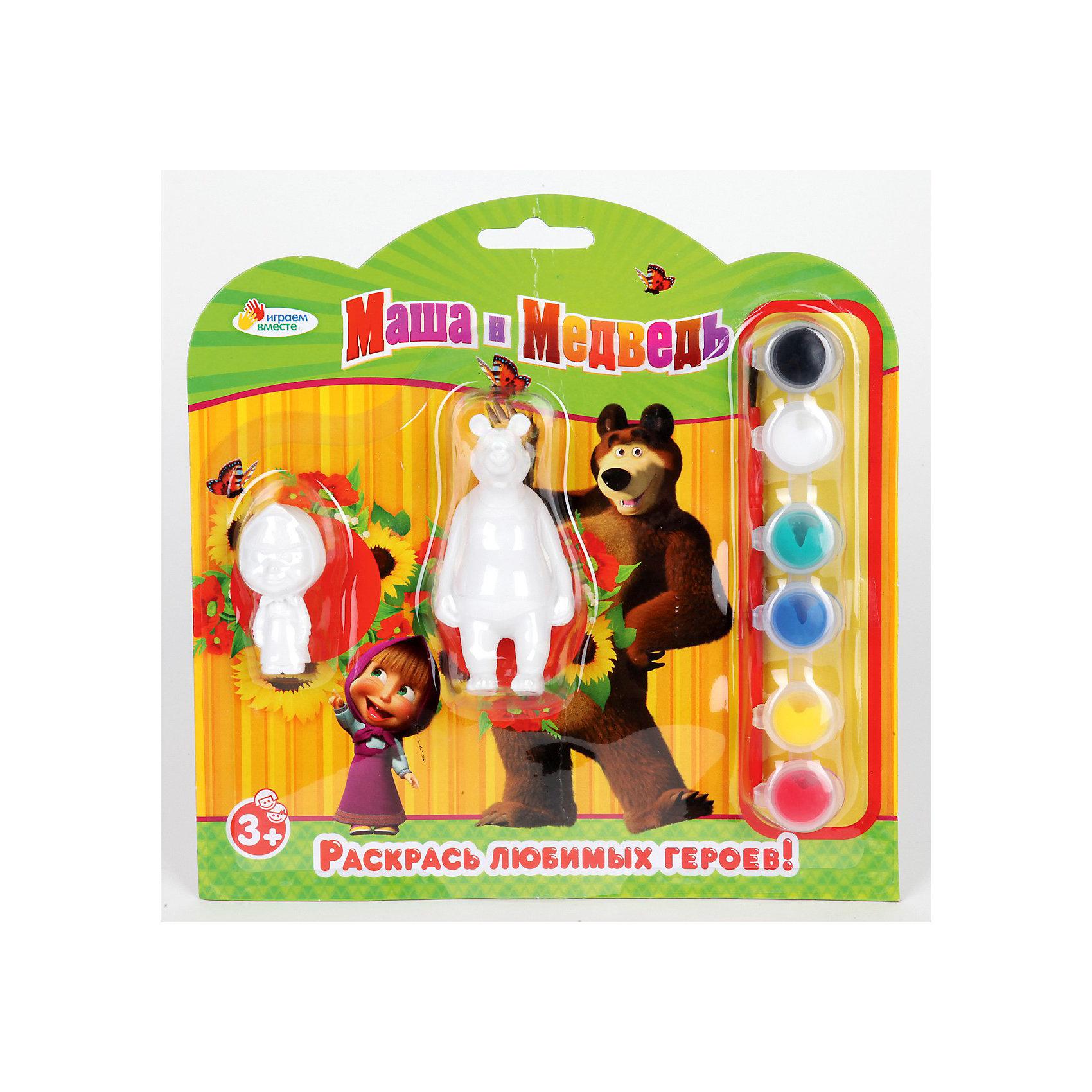 Набор-раскраска, Маша и Медведь,  2 фигуркиНабор-раскраска, Маша и Медведь,  2 фигурки. <br>Станет прекрасным подарком, развивающим творческие способности Вашего малыша. Понятная инструкция и полный комплект всего необходимого помогут Вашему юному художнику создать настоящий шедевр! <br><br>Дополнительная информация:<br><br>В набор входит:<br>2 фигурки из гипса, <br>кисточка и краски 6 цветов.<br><br>Надолго сохранит воспоминания о прекрасных минутах творчества!<br>Можно с легкостью приобрести в нашем интернет-магазине!<br><br>Ширина мм: 40<br>Глубина мм: 210<br>Высота мм: 210<br>Вес г: 160<br>Возраст от месяцев: 48<br>Возраст до месяцев: 84<br>Пол: Женский<br>Возраст: Детский<br>SKU: 3361243