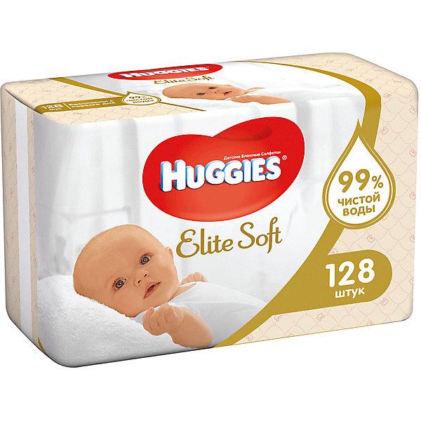 Детские влажные салфетки Huggies Elite Soft 2х64, 128 шт.Влажные салфетки<br>Характеристики:<br><br>• влажные салфетки подходят для кожи новорожденных;<br>• пропитка салфеток: чистейшая вода;<br>• после использования салфеток не остается липких следов на коже малыша;<br>• многослойная структура, впитывающий эффект;<br>• технология «3 слоя чистоты» - эффективное и бережное очищение кожи малыша;<br>• салфетки пышные, прочные, нежные;<br>• гипоаллергенные;<br>• не содержит парабенов;<br>• не содержит спирт;<br>• не содержит отдушек;<br>• пропитка pH сбалансирована.<br><br>Влажные салфетки Huggies Elite Soft созданы по технологии «3 слоя чистоты»: салфетки состоят из 3 плотных впитывающих слоев, содержат натуральные материалы и пропитаны очищенной водой. Гипоаллергенные влажные салфетки прекрасно впитывают загрязнения. В большинстве случаев достаточно одной влажной салфетки, чтобы кожа малыша снова стала чистой.<br><br>Влажные салфетки Huggies Elite Soft 128 шт. можно купить в нашем интернет-магазине.<br>Ширина мм: 190; Глубина мм: 130; Высота мм: 95; Вес г: 948; Возраст от месяцев: 0; Возраст до месяцев: 84; Пол: Унисекс; Возраст: Детский; SKU: 3361310;