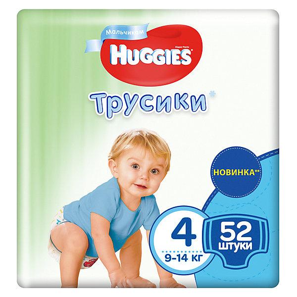 Трусики-подгузники Huggies 4 Mega Pack для мальчиков, 9-14 кг, 52 шт.Трусики-подгузники<br>Характеристики:<br><br>• трусики-подгузники для мальчиков;<br>• размер 4/L;<br>• вес ребенка: 9-14 кг;<br>• количество в упаковке: 52 шт.<br><br>Преимущества:<br><br>• трусики-подгузники впитывают на 50% быстрее для лучшего комфорта;<br>• уникально расположенные впитывающие каналы уменьшают набухание подгузника;<br>• впитывающий слой для мальчиков расположен ближе к животику;<br>• слой DryTouch впитывает за секунды и помогает запереть влагу внутри; <br>• материалы с микропорами позволяют коже дышать;<br>• мягкие, тянущиеся в разные стороны поясок и широкие боковинки;<br>• эластичные манжеты вокруг ножек для великолепного прилегания и комфорта в движении;<br>• 2 замечательных дизайна Дисней в каждой упаковке.<br><br>Трусики-подгузники Хаггис содержат материалы с видимыми воздухопроницаемыми микропорами в виде отверстий. Легко избавиться от использованных трусиков: расстегните, сверните, закрепите застежками на боковинах.<br><br>Трусики-подгузники Huggies 4/L, 9-14 кг, 52 шт. можно купить в нашем интернет-магазине.<br>Ширина мм: 448; Глубина мм: 220; Высота мм: 125; Вес г: 1930; Возраст от месяцев: 6; Возраст до месяцев: 24; Пол: Мужской; Возраст: Детский; SKU: 3361313;