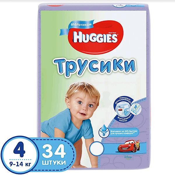 Трусики-подгузники Huggies 4 Jumbo Pack для мальчиков, 9-14 кг, 34 шт.Трусики-подгузники<br>Huggies трусики-подгузники для девочек и для мальчиков.<br>Легко снимаются. Легко надеваются. Великолепно сидят. Взрослея, ребенок становится более активным и непоседливым. Каждый раз процесс смены подгузника становится более трудным и менее приятным для него. Открытый подгузник быстрее обвисает, становится скомканным и сползает вниз, стесняя движение. Малыши ведь так не любят, когда что-то отвлекает их от любимого занятия.<br><br>С самого рождения родители окружают своего ребенка теплом и любовью, стараясь подчеркнуть мальчик у них или девочка. Расширение ассортимента товаров для мальчиков и для девочек — естественное стремление производителя помочь родителям в заботе за их малышом.<br><br>Надежное впитывание. Специальное расположение впитывающего слоя для мальчиков и для девочек. Дизайн как у настоящих трусиков.<br><br>Дополнительная информация:<br><br>- Дизайн: Тачки (Cars)<br>- Для мальчиков.<br>- Размер: 9-14 кг.<br>- В упаковке: 34 шт.<br><br>ВНИМАНИЕ!!! Товар представлен в различных дизайнах упаковки, при этом  качество самого товара не отличается. К сожалению, заранее выбрать определенный вариант нельзя.<br><br>Трусики-подгузники Huggies 4 для мальчиков Jumbo Pack 9-14 кг, 34 шт. можно купить в нашем интернет-магазине.<br><br>Ширина мм: 234<br>Глубина мм: 300<br>Высота мм: 125<br>Вес г: 1326<br>Возраст от месяцев: 6<br>Возраст до месяцев: 24<br>Пол: Мужской<br>Возраст: Детский<br>SKU: 3361315