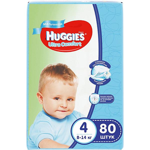 Подгузники Huggies Ultra Comfort 4 Giga Pack для мальчиков, 8-14 кг, 80 шт.Подгузники 6-10 кг<br>С первых дней жизни мальчики и девочки такие разные.<br><br>Новые подгузники Huggies Ultra Comfort созданы специально для мальчиков и специально для девочек. Для лучшего впитывания распределяющий слой в этих подгузниках расположен там, где это нужнее всего: по центру для девочек и выше для мальчиков. Huggies Ultra Comfort изготовлены из мягких материалов с микропорами, которые позволяют коже «дышать». Специальные тянущиеся застежки с закругленными краями надежно фиксируют подгузник, а широкий суперэластичный поясок позволяет малышам свободно двигаться.<br><br>Ключевые преимущества новых Huggies Ultra Comfort:<br><br>- Широкий суперэластичный поясок помогает надежно фиксировать подгузник по спинке малыша и защищать кожу от натирания<br>- Анатомическая форма. Изогнутые резиночки повторяют анатомическую форму подгузника, помогая защитить от натирания между ножками <br>- Ультра мягкий внутренний слой по всей длине подгузника оберегает кожу малыша.<br>- Специально разработанный слой Dry Touch впитывает за секунды и помогает запереть влагу внутри.<br>- Яркие эксклюзивные подгузники c дизайном от Disney подчеркивают индивидуальность маленьких модников и модниц.<br><br>Huggies Ultra Comfort для мальчиков и для девочек — потому что они такие разные.<br><br>Дополнительная информация:<br><br>Для мальчиков.<br>Размер: 4, 8-14 кг.<br>В упаковке: 80 шт.<br><br>Подгузники Huggies Ultra Comfort для мальчиков Giga Pack (4) 8-14 кг, 80 шт. можно купить в нашем интернет-магазине.<br>Ширина мм: 415; Глубина мм: 375; Высота мм: 107; Вес г: 3040; Возраст от месяцев: 6; Возраст до месяцев: 24; Пол: Мужской; Возраст: Детский; SKU: 3361321;
