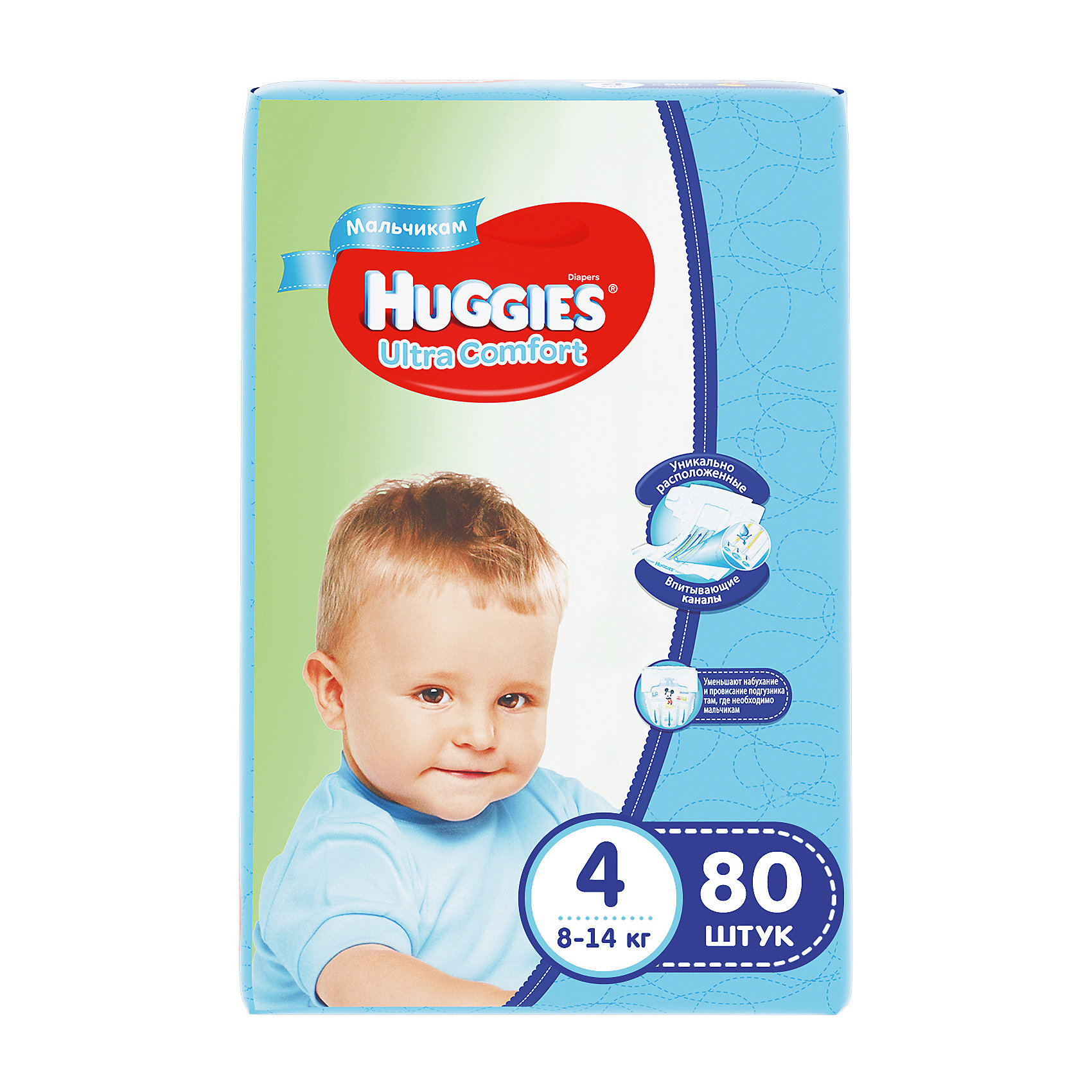 Подгузники Huggies Ultra Comfort для мальчиков Giga Pack (4) 8-14 кг, 80 шт.Подгузники классические<br>С первых дней жизни мальчики и девочки такие разные.<br><br>Новые подгузники Huggies Ultra Comfort созданы специально для мальчиков и специально для девочек. Для лучшего впитывания распределяющий слой в этих подгузниках расположен там, где это нужнее всего: по центру для девочек и выше для мальчиков. Huggies Ultra Comfort изготовлены из мягких материалов с микропорами, которые позволяют коже «дышать». Специальные тянущиеся застежки с закругленными краями надежно фиксируют подгузник, а широкий суперэластичный поясок позволяет малышам свободно двигаться.<br><br>Ключевые преимущества новых Huggies Ultra Comfort:<br><br>- Широкий суперэластичный поясок помогает надежно фиксировать подгузник по спинке малыша и защищать кожу от натирания<br>- Анатомическая форма. Изогнутые резиночки повторяют анатомическую форму подгузника, помогая защитить от натирания между ножками <br>- Ультра мягкий внутренний слой по всей длине подгузника оберегает кожу малыша.<br>- Специально разработанный слой Dry Touch впитывает за секунды и помогает запереть влагу внутри.<br>- Яркие эксклюзивные подгузники c дизайном от Disney подчеркивают индивидуальность маленьких модников и модниц.<br><br>Huggies Ultra Comfort для мальчиков и для девочек — потому что они такие разные.<br><br>Дополнительная информация:<br><br>Для мальчиков.<br>Размер: 4, 8-14 кг.<br>В упаковке: 80 шт.<br><br>Подгузники Huggies Ultra Comfort для мальчиков Giga Pack (4) 8-14 кг, 80 шт. можно купить в нашем интернет-магазине.<br><br>Ширина мм: 415<br>Глубина мм: 375<br>Высота мм: 107<br>Вес г: 3040<br>Возраст от месяцев: 6<br>Возраст до месяцев: 24<br>Пол: Мужской<br>Возраст: Детский<br>SKU: 3361321