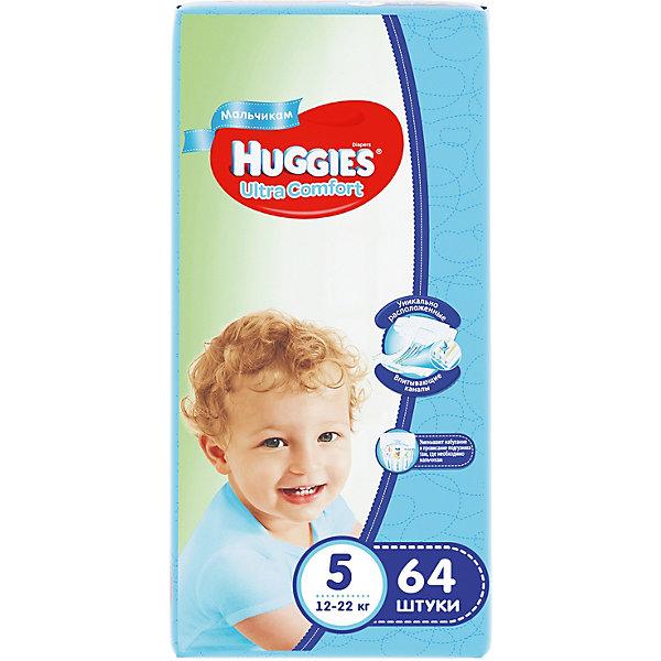 Подгузники Huggies Ultra Comfort 5 Giga Pack для мальчиков, 12-22 кг, 64 шт.Подгузники классические<br>С первых дней жизни мальчики и девочки такие разные.<br><br>Новые подгузники Huggies Ultra Comfort созданы специально для мальчиков и специально для девочек. Для лучшего впитывания распределяющий слой в этих подгузниках расположен там, где это нужнее всего: по центру для девочек и выше для мальчиков. Huggies Ultra Comfort изготовлены из мягких материалов с микропорами, которые позволяют коже «дышать». Специальные тянущиеся застежки с закругленными краями надежно фиксируют подгузник, а широкий суперэластичный поясок позволяет малышам свободно двигаться.<br><br>Ключевые преимущества новых Huggies Ultra Comfort:<br><br>- Широкий суперэластичный поясок помогает надежно фиксировать подгузник по спинке малыша и защищать кожу от натирания<br>- Анатомическая форма. Изогнутые резиночки повторяют анатомическую форму подгузника, помогая защитить от натирания между ножками <br>- Ультра мягкий внутренний слой по всей длине подгузника оберегает кожу малыша.<br>- Специально разработанный слой Dry Touch впитывает за секунды и помогает запереть влагу внутри.<br>- Яркие эксклюзивные подгузники c дизайном от Disney подчеркивают индивидуальность маленьких модников и модниц.<br><br>Huggies Ultra Comfort для мальчиков и для девочек — потому что они такие разные.<br><br>Дополнительная информация:<br><br>Для мальчиков.<br>Размер: 5, 12-22 кг.<br>В упаковке: 64 шт.<br><br>Подгузники Huggies Ultra Comfort для мальчиков Giga Pack (5) 12-22 кг, 64 шт. можно купить в нашем интернет-магазине.<br>Ширина мм: 480; Глубина мм: 265; Высота мм: 107; Вес г: 2688; Возраст от месяцев: 12; Возраст до месяцев: 72; Пол: Мужской; Возраст: Детский; SKU: 3361323;