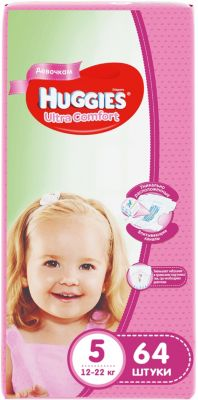HUGGIES Подгузники Huggies Ultra Comfort 5 Giga Pack для девочек, 12-22 кг, 64 шт.