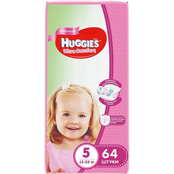 Подгузники Huggies Ultra Comfort 5 Giga Pack для девочек, 12-22 кг, 64 шт.Подгузники 21-30 кг<br>С первых дней жизни мальчики и девочки такие разные.<br><br>Новые подгузники Huggies Ultra Comfort созданы специально для мальчиков и специально для девочек. Для лучшего впитывания распределяющий слой в этих подгузниках расположен там, где это нужнее всего: по центру для девочек и выше для мальчиков. Huggies Ultra Comfort изготовлены из мягких материалов с микропорами, которые позволяют коже «дышать». Специальные тянущиеся застежки с закругленными краями надежно фиксируют подгузник, а широкий суперэластичный поясок позволяет малышам свободно двигаться.<br><br>Ключевые преимущества новых Huggies Ultra Comfort:<br><br>- Широкий суперэластичный поясок помогает надежно фиксировать подгузник по спинке малыша и защищать кожу от натирания<br>- Анатомическая форма. Изогнутые резиночки повторяют анатомическую форму подгузника, помогая защитить от натирания между ножками <br>- Ультра мягкий внутренний слой по всей длине подгузника оберегает кожу малыша.<br>- Специально разработанный слой Dry Touch впитывает за секунды и помогает запереть влагу внутри.<br>- Яркие эксклюзивные подгузники c дизайном от Disney подчеркивают индивидуальность маленьких модников и модниц.<br><br>Huggies Ultra Comfort для мальчиков и для девочек — потому что они такие разные.<br><br>Дополнительная информация:<br><br>Для девочек.<br>Размер: 5, 12-22 кг.<br>В упаковке: 64 шт.<br><br>Подгузники Huggies Ultra Comfort для девочек Giga Pack (5) 12-22 кг, 64 шт. можно купить в нашем интернет-магазине.<br>Ширина мм: 480; Глубина мм: 265; Высота мм: 107; Вес г: 2688; Возраст от месяцев: 12; Возраст до месяцев: 72; Пол: Женский; Возраст: Детский; SKU: 3361324;