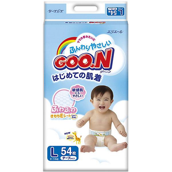 Подгузники Goon, L 9-14 кг, 54 шт.Подгузники классические<br>Японские подгузники Goon с витамином Е. Теперь кожа на попке вашего малыша будет еще мягче и здоровее.<br><br>По всей поверхности внутреннего слоя подгузника Goon имеются просечки, снижая тем самым площадь контакта поверхности подгузника с нежной кожей ребёнка.<br>На пояске есть специальные отметки с цифрами — позволяющие быстро закрепить фиксирующую ленту, даже когда малыш спит.<br>Внутри подгузника в области паха добавлена мягкая оборочка, которая предотвращает возможность подтекания.<br>В подгузнике предусмотрен знак наполнения, который своевременно подскажет о необходимости сменить подгузник.<br><br>Дополнительная информация:<br><br>Размер: L, 9-14 кг.<br>В упаковке: 54 шт.<br><br>Подгузники Goon, L 9-14 кг, 54 шт. можно купить в нашем интернет-магазине.<br><br>Ширина мм: 135<br>Глубина мм: 260<br>Высота мм: 430<br>Вес г: 1930<br>Возраст от месяцев: 6<br>Возраст до месяцев: 24<br>Пол: Унисекс<br>Возраст: Детский<br>SKU: 3361341