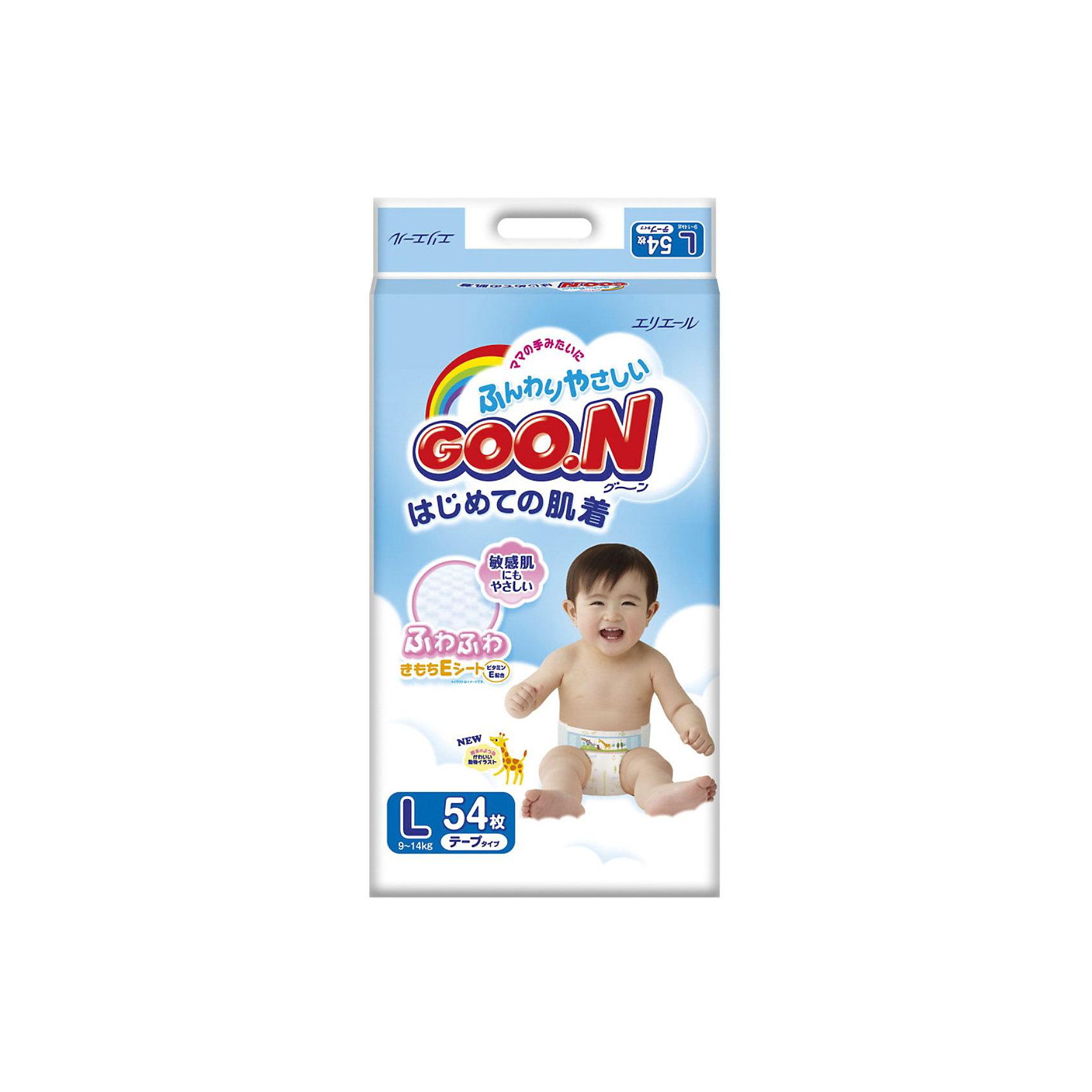 Подгузники Goon, L 9-14 кг, 54 шт.Японские подгузники Goon с витамином Е. Теперь кожа на попке вашего малыша будет еще мягче и здоровее.<br><br>По всей поверхности внутреннего слоя подгузника Goon имеются просечки, снижая тем самым площадь контакта поверхности подгузника с нежной кожей ребёнка.<br>На пояске есть специальные отметки с цифрами — позволяющие быстро закрепить фиксирующую ленту, даже когда малыш спит.<br>Внутри подгузника в области паха добавлена мягкая оборочка, которая предотвращает возможность подтекания.<br>В подгузнике предусмотрен знак наполнения, который своевременно подскажет о необходимости сменить подгузник.<br><br>Дополнительная информация:<br><br>Размер: L, 9-14 кг.<br>В упаковке: 54 шт.<br><br>Подгузники Goon, L 9-14 кг, 54 шт. можно купить в нашем интернет-магазине.<br><br>Ширина мм: 135<br>Глубина мм: 260<br>Высота мм: 430<br>Вес г: 1930<br>Возраст от месяцев: 6<br>Возраст до месяцев: 24<br>Пол: Унисекс<br>Возраст: Детский<br>SKU: 3361341