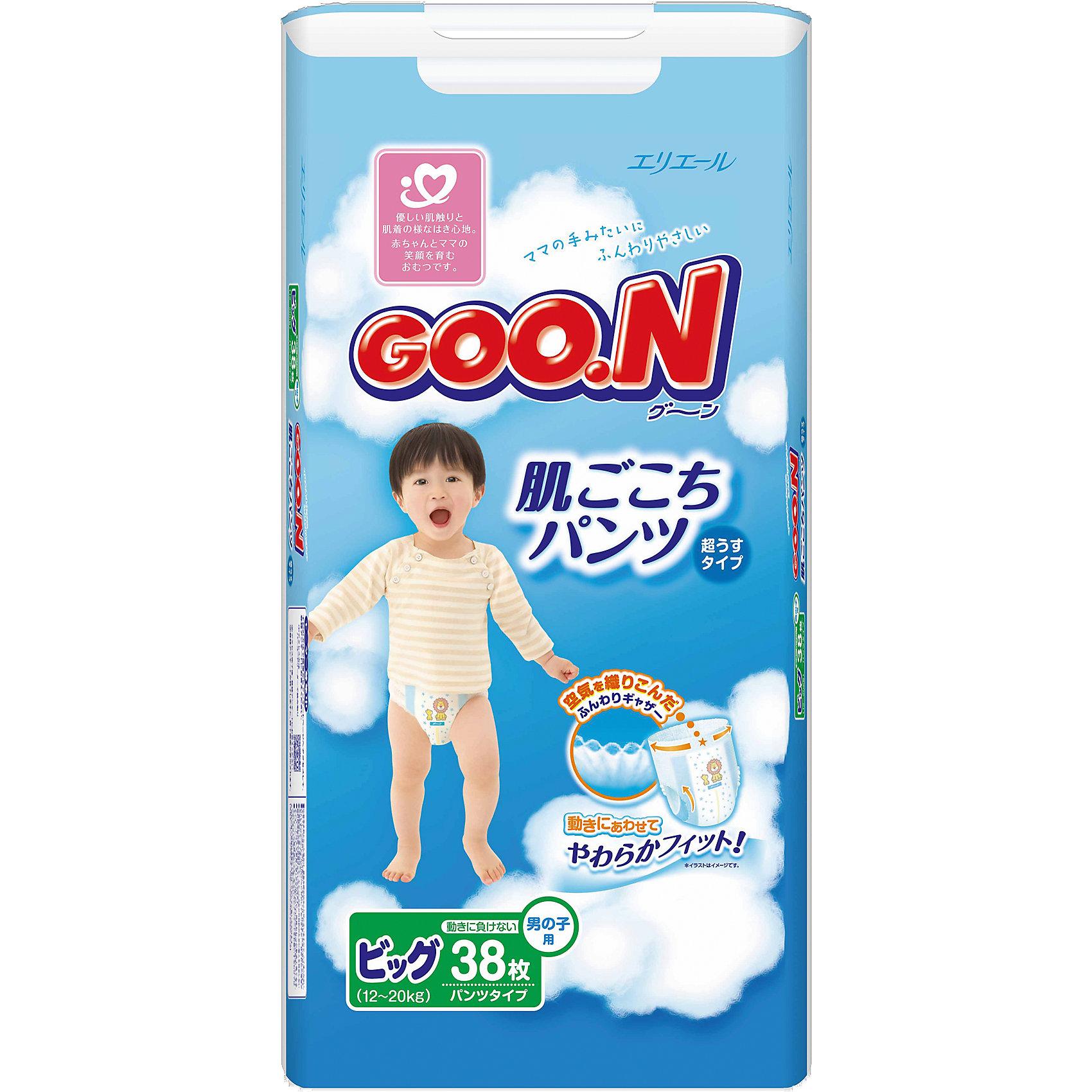 Goon Подгузники-трусики Goon, XL 12-20 кг, для мальчиков, 38 шт. goon подгузники ss 0 5 кг 90 шт