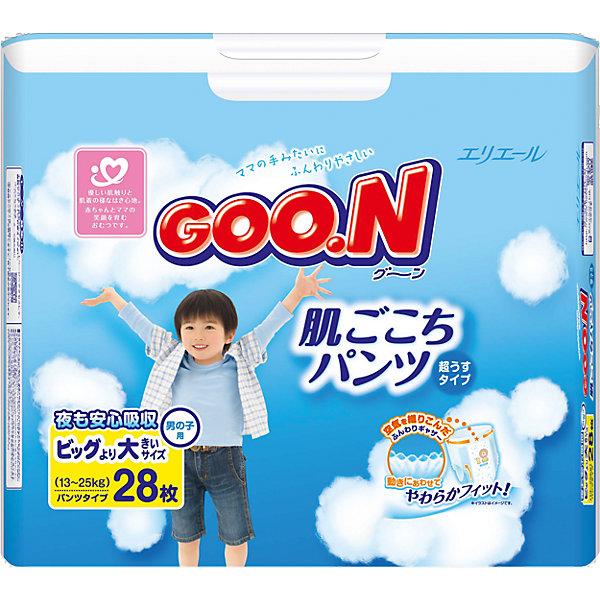 Подгузники-трусики Goon, XXL 13-25 кг, для мальчиков, 28 шт.Трусики-подгузники<br>Внимание! У поставщика произошла замена упаковки. Возможно поступление товара в старой упаковке.<br><br>Трусики-подгузники Goon 13-25 кг для мальчиков — очень мягкие, нежные, дышащие, как нижнее белье. Они отлично подходят как для сна, так и для длительных прогулок. Подгузники очень тонкие — вдвое тоньше аналогов — и отлично сидят на малыше. Их легко надевать и снимать; чтобы сменить подгузник, достаточно разорвать боковые швы и снять подгузник с малыша.<br><br>Мягкие резиночки на бортиках и манжетах обеспечивают надежную фиксацию и защиту от протеканий. Трусики-подгузники Goon 13-25 кг для мальчиков полностью гипоаллергенны и не раздражают нежную кожу ребенка. Они «дышат», прекрасно пропускают воздух, не допуская появления опрелостей. Особый вкладыш с веществом-деодорантом сводит к минимуму все неприятные запахи как во время пользования трусиками, так и после их утилизации.<br><br>Цветовой индикатор вовремя сообщит, когда подгузник пора менять.<br><br>Дополнительная информация:<br><br>Для мальчиков<br>Размер: XXL, 13-25 кг.<br>В упаковке: 28 шт.<br><br>Подгузники-трусики Goon, XXL 13-25 кг, для мальчиков, 28 шт. можно купить в нашем интернет-магазине.<br><br>Ширина мм: 175<br>Глубина мм: 315<br>Высота мм: 215<br>Вес г: 1290<br>Возраст от месяцев: 12<br>Возраст до месяцев: 84<br>Пол: Мужской<br>Возраст: Детский<br>SKU: 3361348