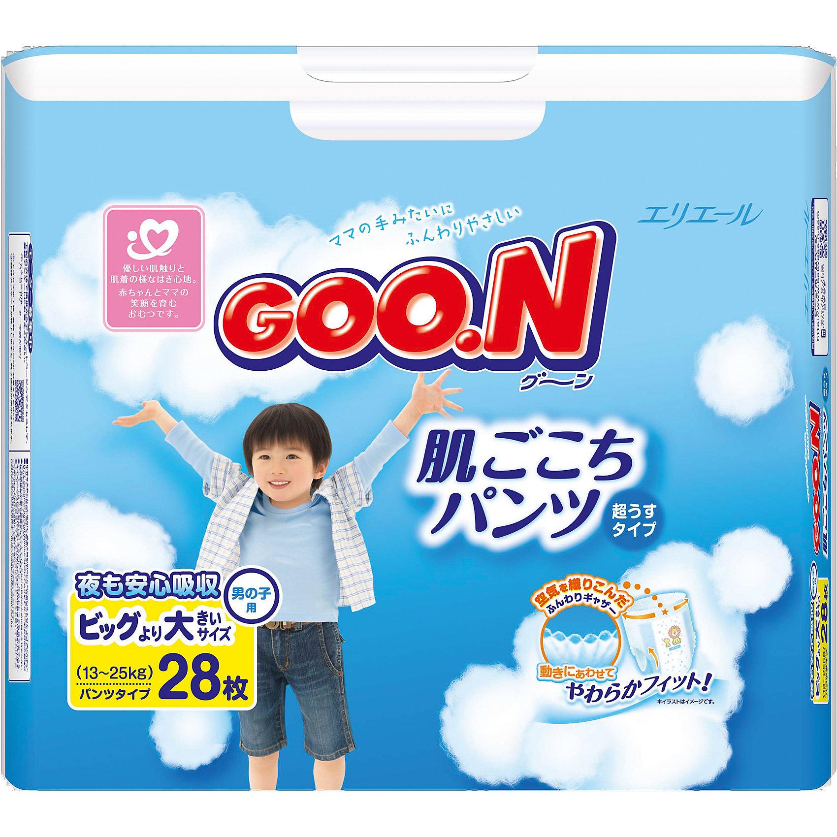 Goon Подгузники-трусики Goon, XXL 13-25 кг, для мальчиков, 28 шт. moony трусики ночные для мальчиков 13 25 кг в барнауле