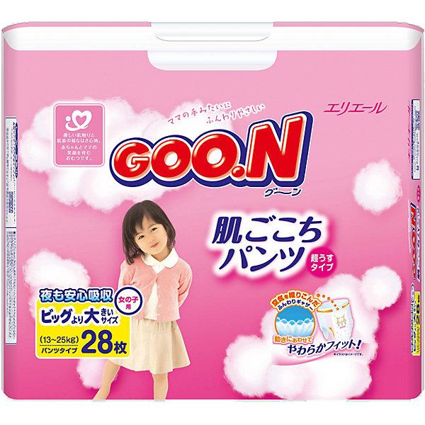 Подгузники-трусики Goon, XXL 13-25 кг, для девочек, 28 шт.Трусики-подгузники<br>Внимание! У поставщика произошла замена упаковки. Возможно поступление товара в старой упаковке.<br><br>Трусики-подгузники Goon 13-25 кг для девочек — очень мягкие, нежные, дышащие, как нижнее белье. Они отлично подходят как для сна, так и для длительных прогулок. Подгузники очень тонкие — вдвое тоньше аналогов — и отлично сидят на малыше. Их легко надевать и снимать; чтобы сменить подгузник, достаточно разорвать боковые швы и снять подгузник с малыша.<br><br>Мягкие резиночки на бортиках и манжетах обеспечивают надежную фиксацию и защиту от протеканий. Трусики-подгузники Goon 13-25 кг для девочек полностью гипоаллергенны и не раздражают нежную кожу ребенка. Они «дышат», прекрасно пропускают воздух, не допуская появления опрелостей. Особый вкладыш с веществом-деодорантом сводит к минимуму все неприятные запахи как во время пользования трусиками, так и после их утилизации.<br><br>Цветовой индикатор вовремя сообщит, когда подгузник пора менять.<br><br>Дополнительная информация:<br><br>Для девочек<br>Размер: XXL, 13-25 кг.<br>В упаковке: 28 шт.<br><br>Подгузники-трусики Goon, XXL 13-25 кг, для девочек, 28 шт. можно купить в нашем интернет-магазине.<br>Ширина мм: 175; Глубина мм: 315; Высота мм: 215; Вес г: 1290; Возраст от месяцев: 12; Возраст до месяцев: 84; Пол: Женский; Возраст: Детский; SKU: 3361349;