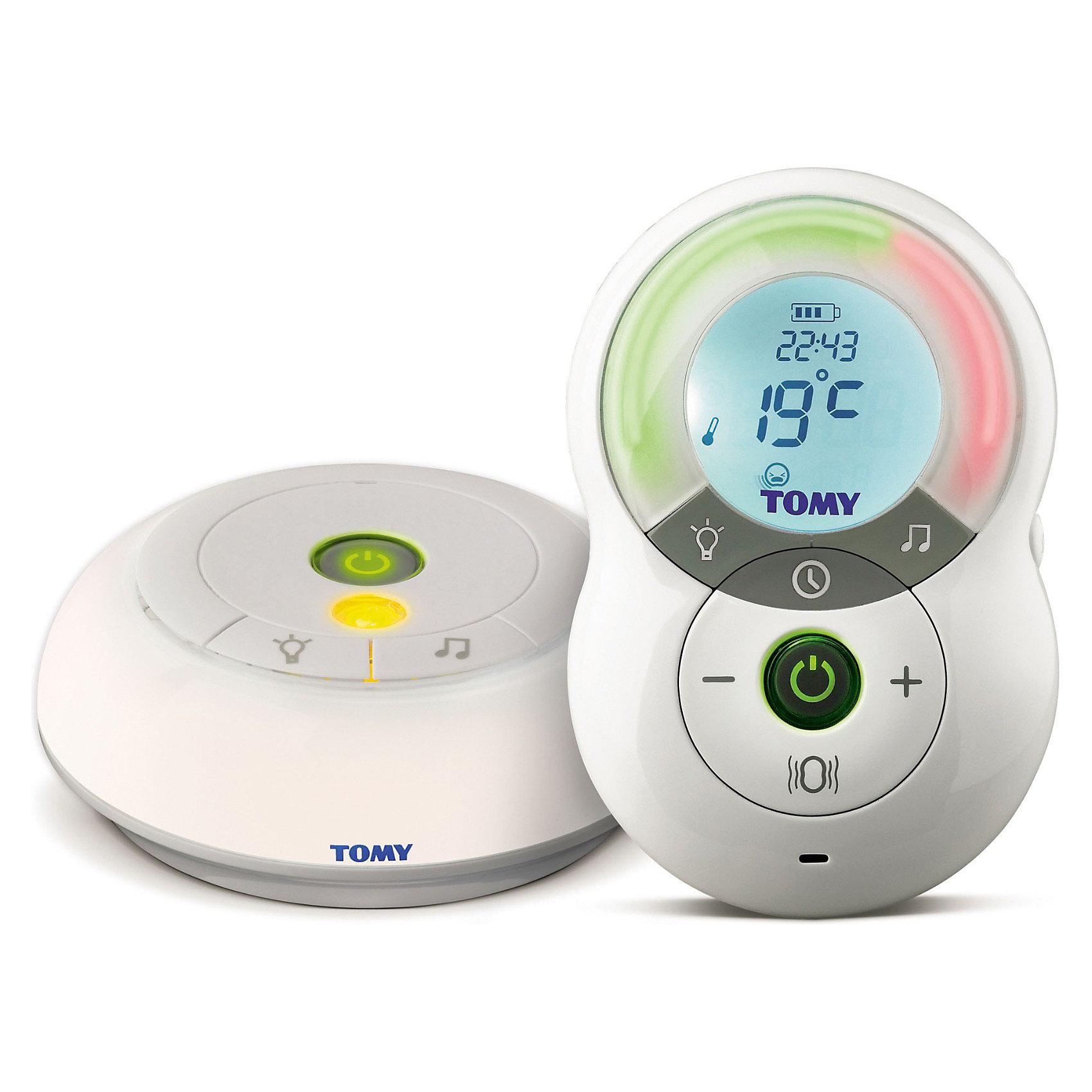 Радионяня TOMY, TF550Радионяня TOMY (Томи), TF550 предназначена для заботливых родителей, которые выбирают качественный звук, полную конфиденциальность и высокий уровень защиты от помех. Высокая дальность уверенного приема/передачи сигнала (350 м) — позволит Вам заниматься своими делами, свободно перемещаться по дому и даже отлучаться к соседям, не теряя связи с малышом. Превосходное качество сигнала и отсутствие помех — достигается за счёт применения цифровой технологии DECT. Блок ребенка может воспроизводить приятные успокаивающие мелодии. Как показывает практика, такие (специально побранные) мелодии действуют ничуть не хуже маминой колыбельной. Родительский блок можно использовать в беззвучном режиме. В этом случае уровень шума в детской комнате отображается посредством светодиодного индикатора — чем громче звуки в комнате ребенка, тем больше лампочек загорается на панели прибора.<br><br>Дополнительная информация:<br><br>- В комплекте: детский блок, родительский блок, клипса для пояса, 2 сетевых адаптера, аккумулятор;<br>- С цифровой технологией DECT автоматически выберет оптимальный канал связи из 120 возможных и обеспечит кристально чистый звук;<br>- Радиус действия - 350 метров на открытом пространстве;<br>- Имеет двустороннюю связь с ребенком;<br>- Индикатор выхода за радиус действия;<br>- Индикатор зарядки батареи;<br>- Световые индикаторы отображения уровня звука;<br>- Ночник с дистанционным управлением с регулируемой яркостью. Мягкий свет на детском блоке;<br>- Ночник можно использовать с радионяней или без нее;<br>- Коллекция колыбельных мелодий на детском блоке, можно использовать с радионяней или без нее;<br>- ЖК-дисплей с подсветкой;<br>- Температурный датчик, информация выводится на дисплей;<br>- Активация звуком, т.е. вы сами устанавливаете звуковой порог чувствительности микрофона и все шумы и звуки ниже этого порога игнорируются;<br>- Клипса для крепления на пояс;<br>- Функция поиска родительского блока;<br>- Аккумулятор для родительского блока;<br