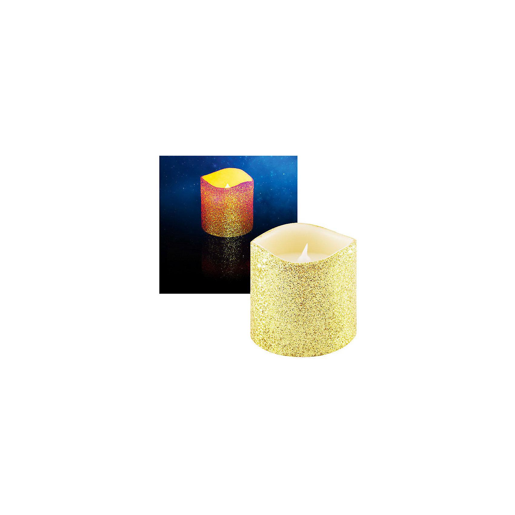 Светодиодная свеча, 7,5х7,5 см, золотая